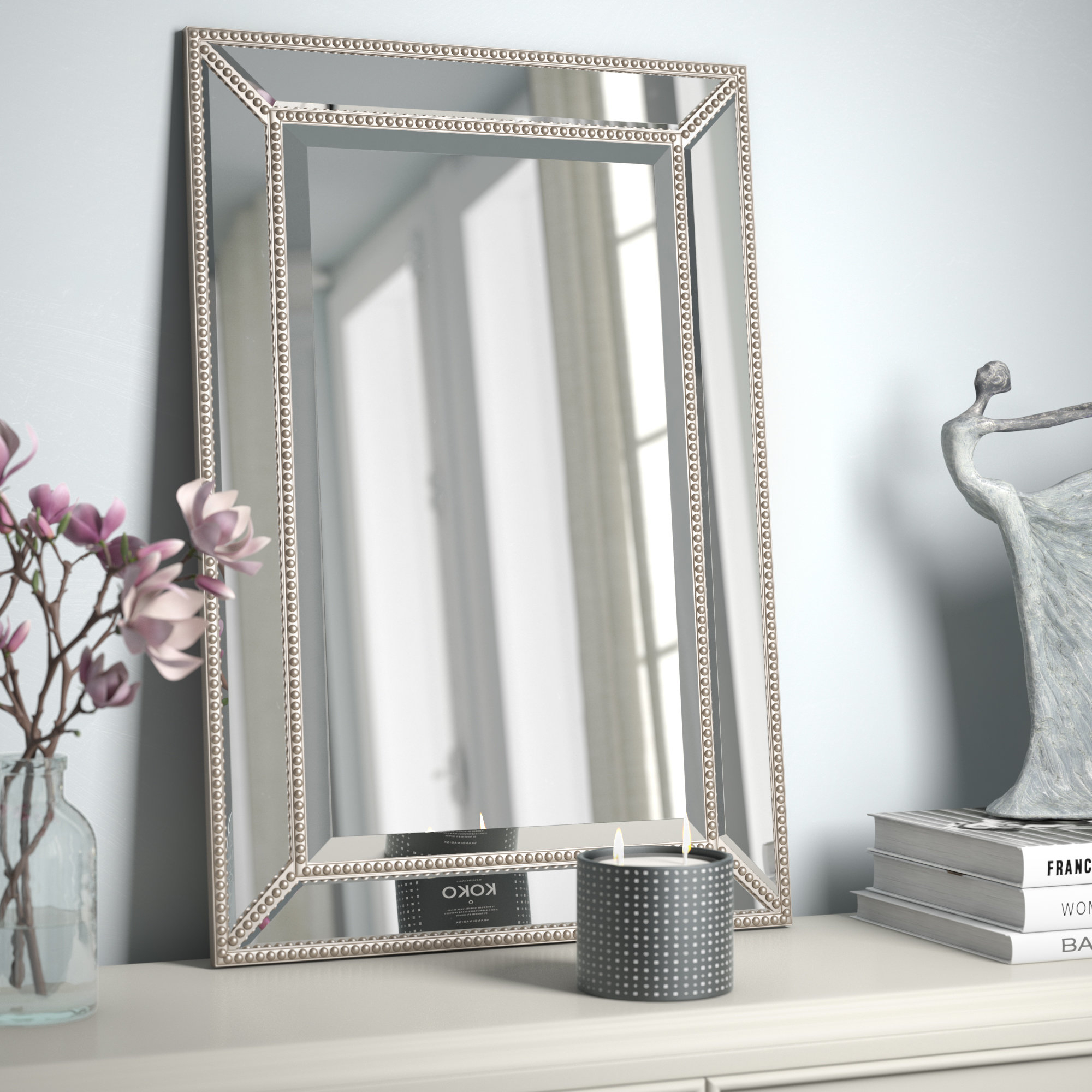 Three Posts Lake Park Beveled Beaded Accent Wall Mirror For Rectangle Accent Wall Mirrors (View 18 of 30)