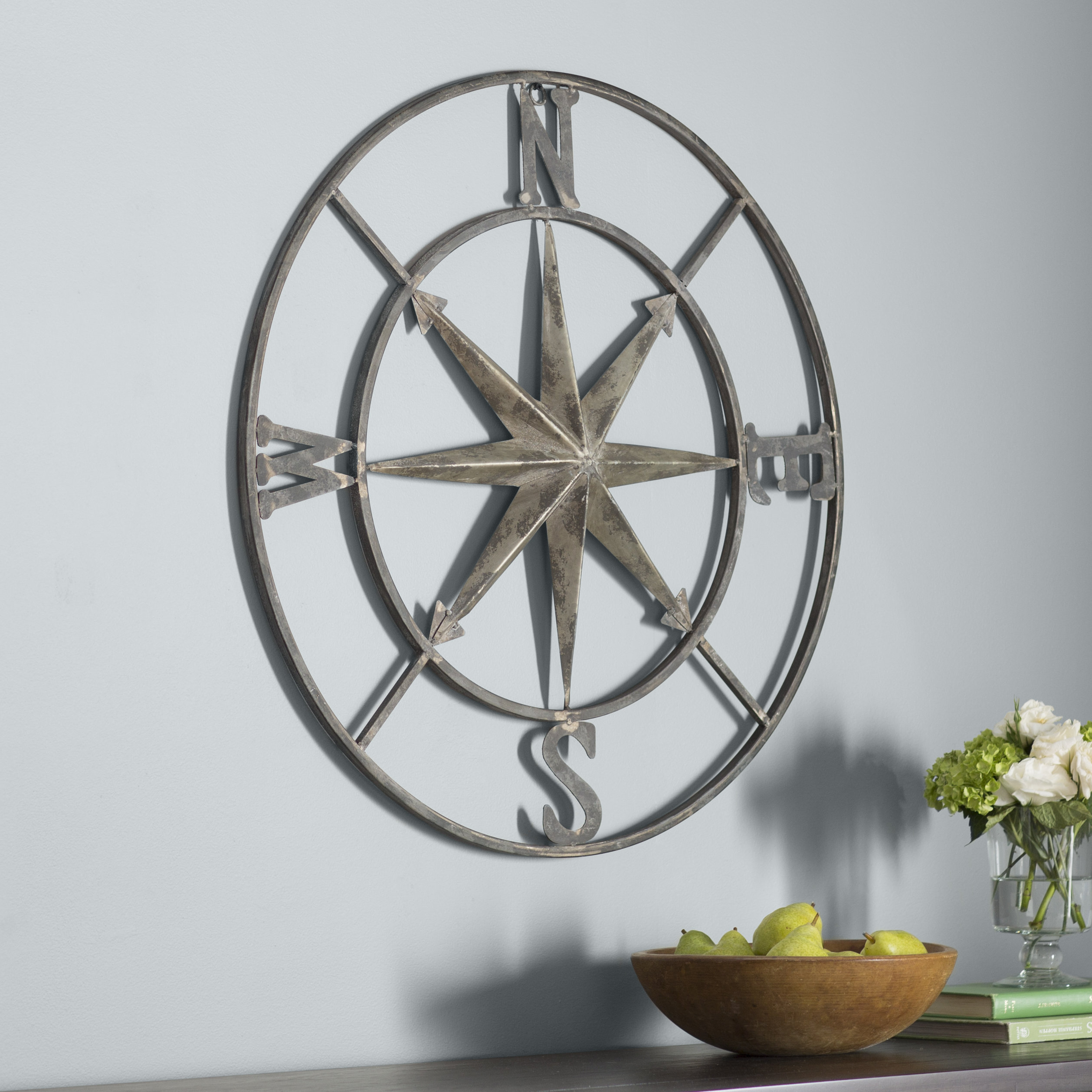 Three Posts Round Compass Wall Décor & Reviews | Wayfair Intended For Round Compass Wall Decor (View 2 of 30)