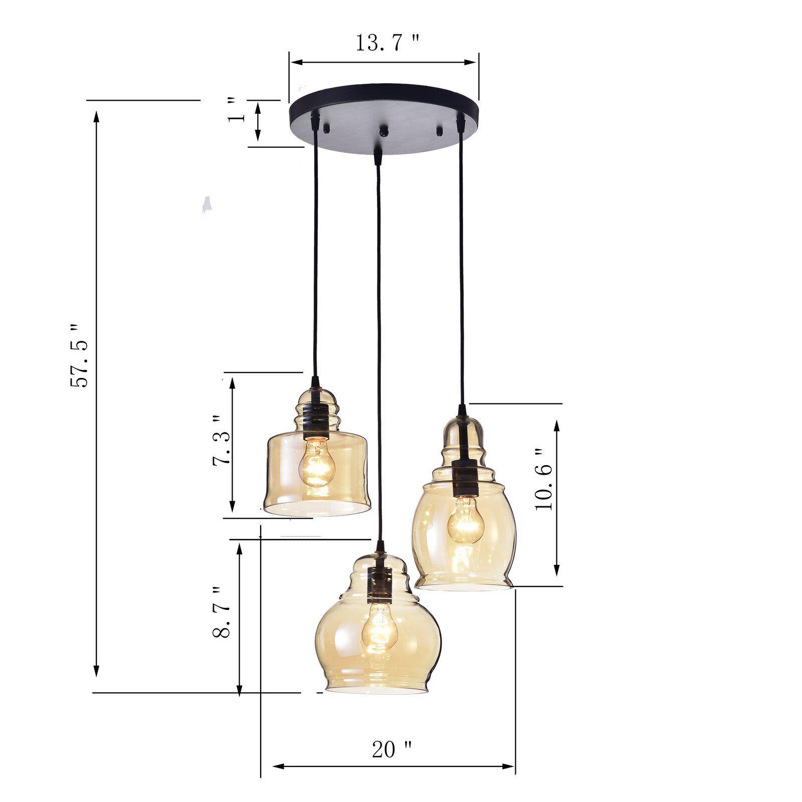 Three Posts Vernice Vintage 3 Light Cluster Bell Pendant In Inside Pruett Cognac 3 Light Cluster Bell Pendants (View 6 of 30)