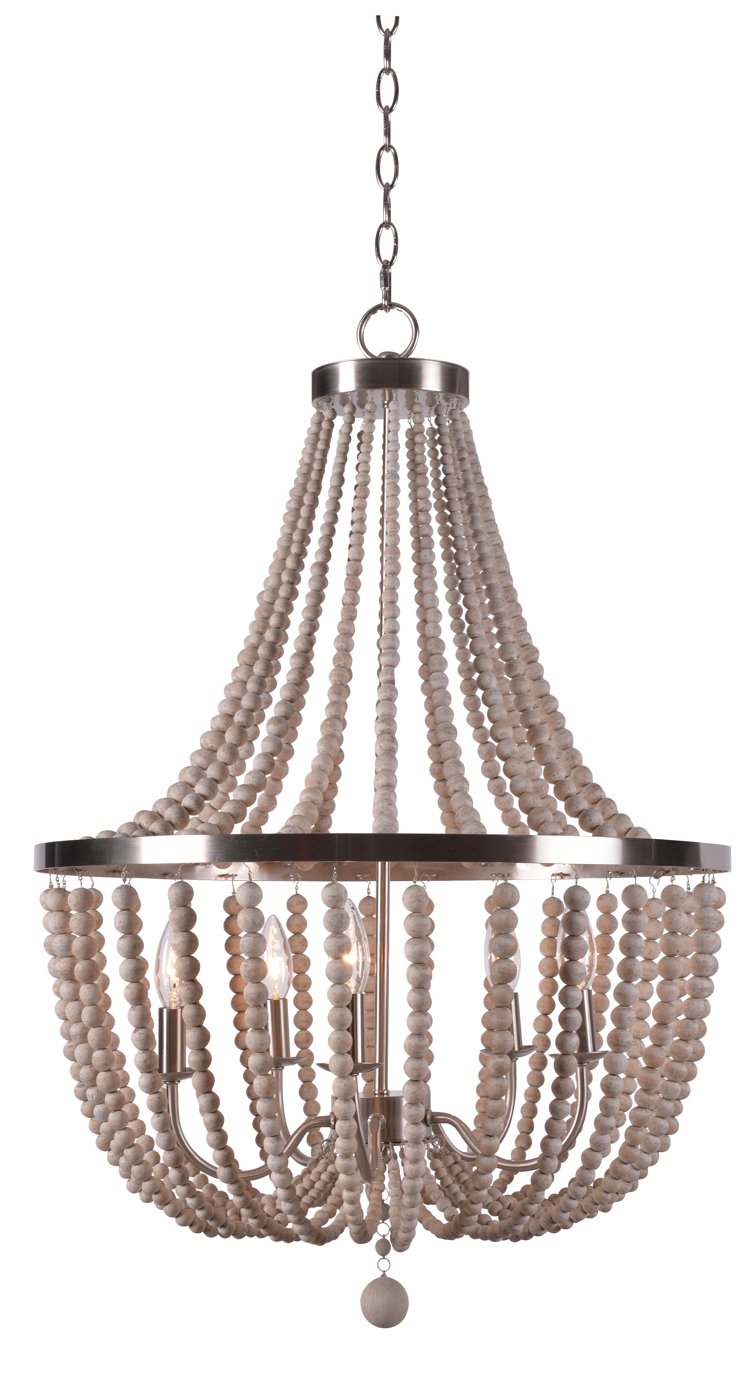 Tilden Wood Bead 5 Light Empire Chandelier For Duron 5 Light Empire Chandeliers (View 3 of 30)