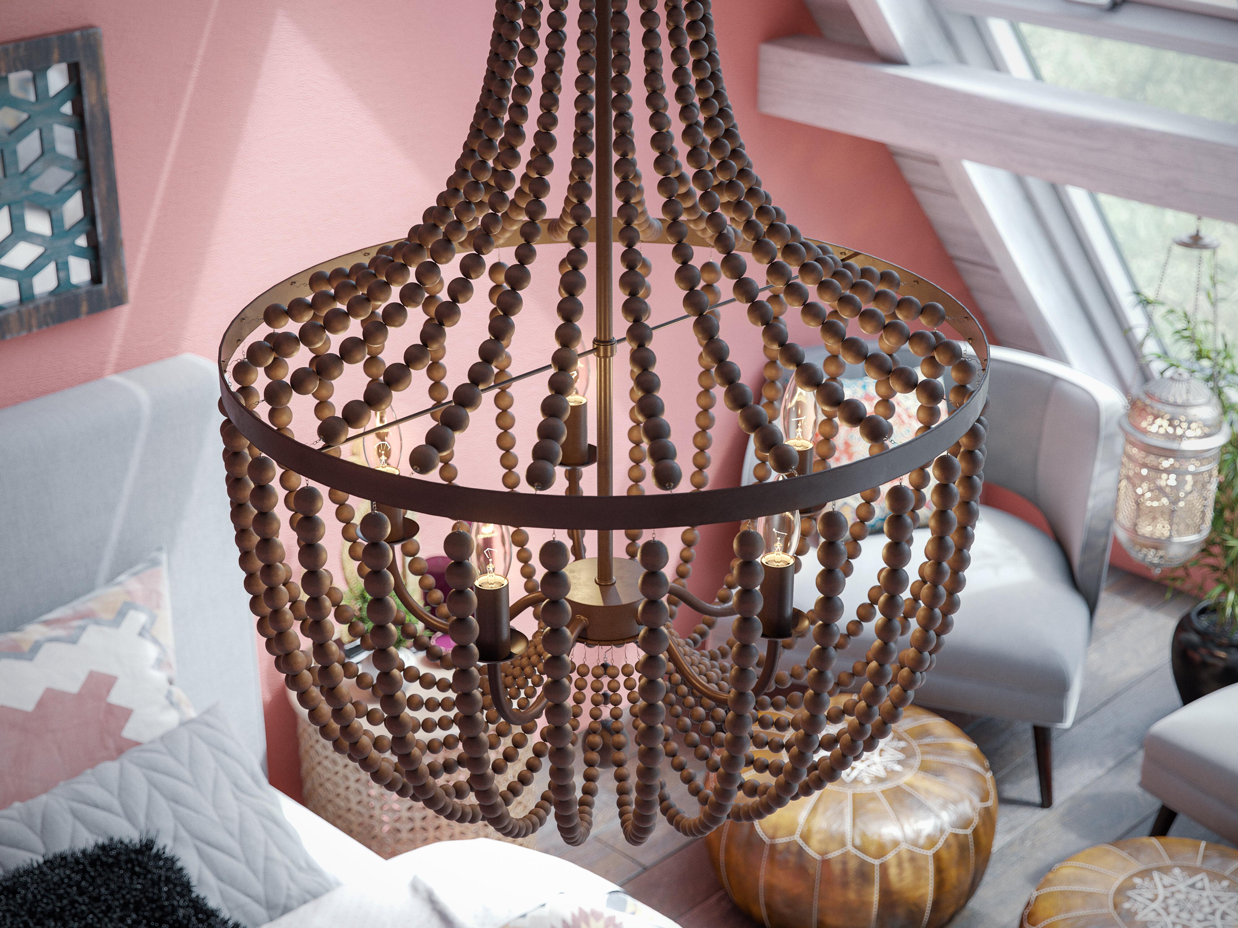 Tilden Wood Bead 5 Light Empire Chandelier Intended For Duron 5 Light Empire Chandeliers (View 15 of 30)