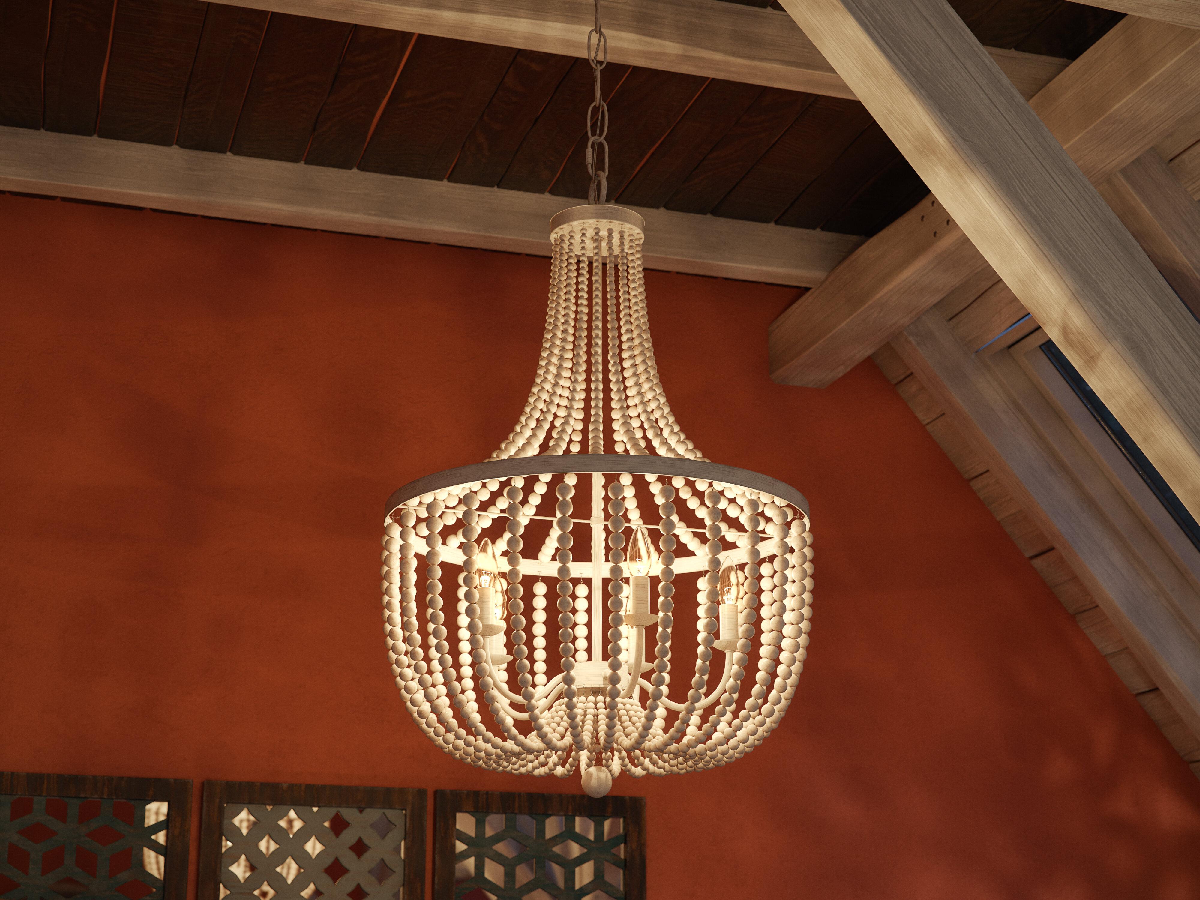 Tilden Wood Bead 5 Light Empire Chandelier Throughout Duron 5 Light Empire Chandeliers (View 12 of 30)