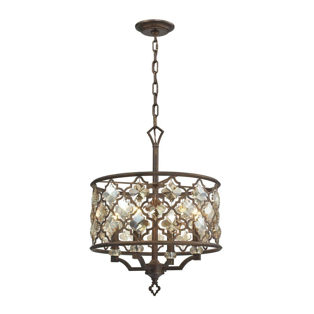 Titan Lighting Armand 4 Light Weathered Bronze Pendant Inside Armande Candle Style Chandeliers (Image 30 of 30)