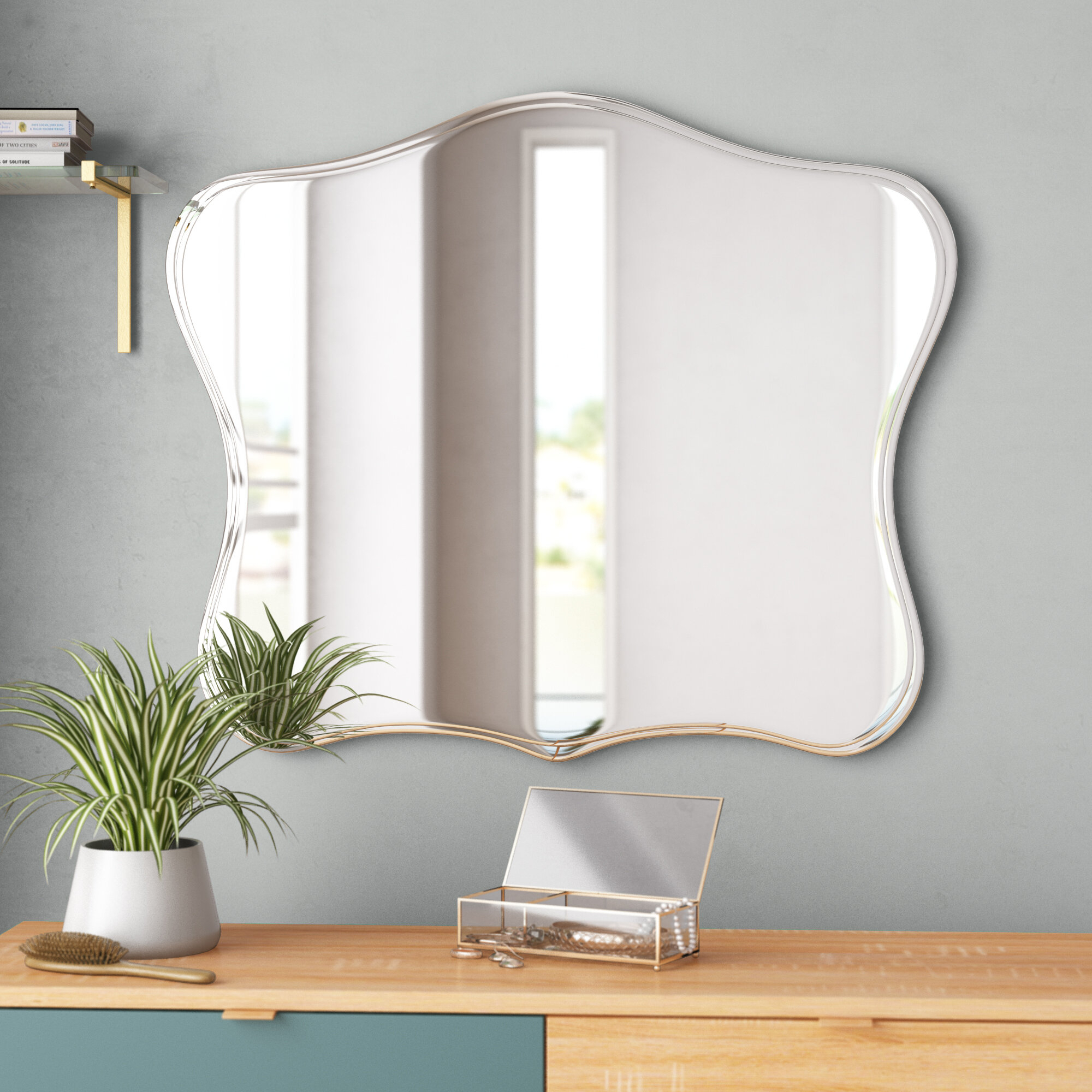 Titsworth Frameless Fancy Wall Mirror inside Estefania Frameless Wall Mirrors (Image 26 of 30)