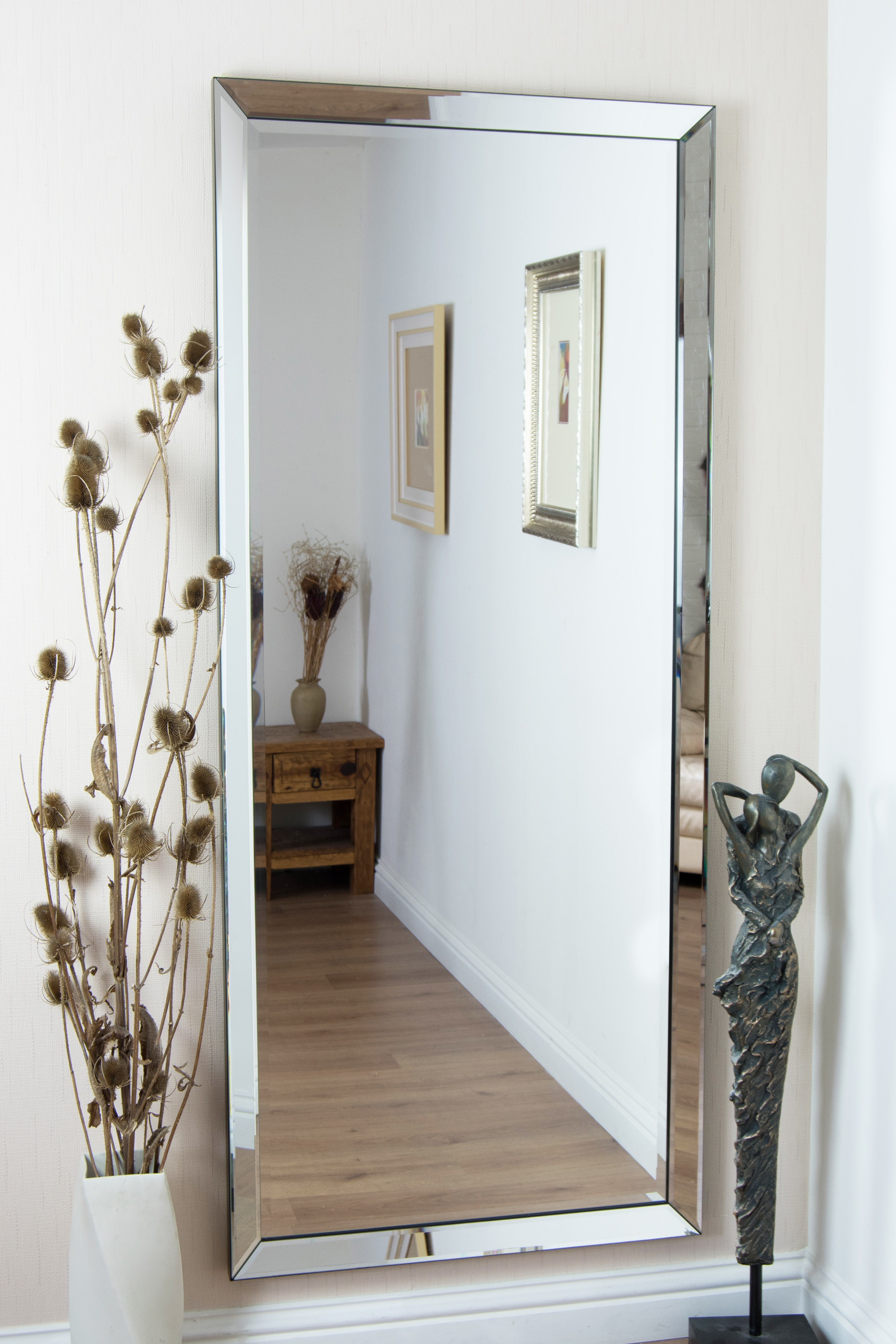 Top 34 Terrific Beveled Wall Mirror White Large Frameless Inside Modern & Contemporary Beveled Wall Mirrors (View 29 of 30)