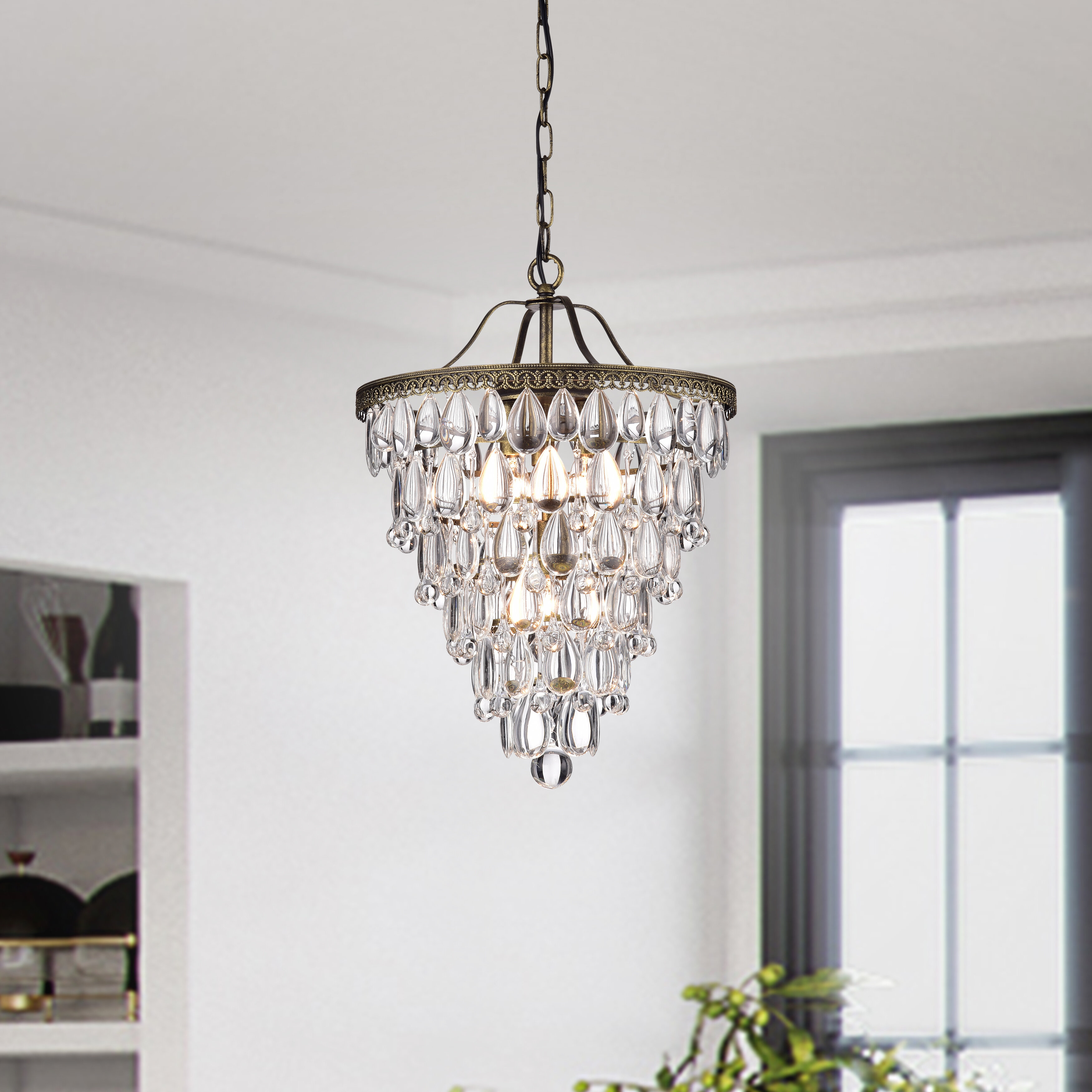 Totnes 4 Light Crystal Chandelier Within Bramers 6 Light Novelty Chandeliers (View 16 of 30)