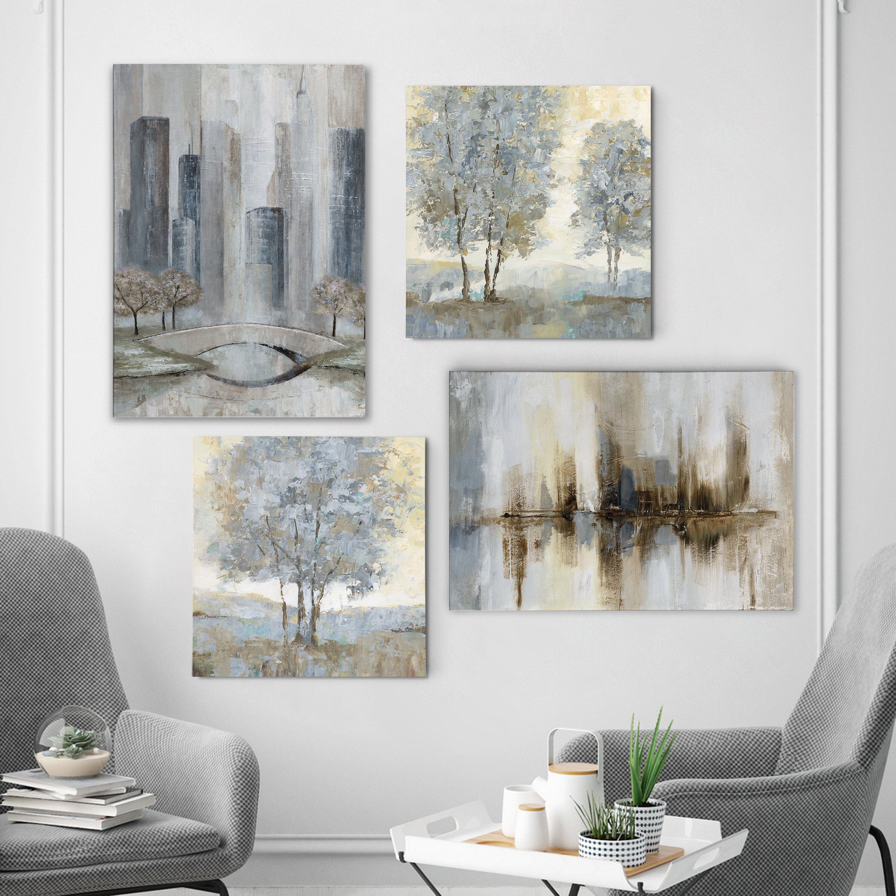 'touch Of Modern Grays' 4 Piece Painting Print Set On Canvas Intended For 4 Piece Wall Decor Sets By Charlton Home (View 11 of 30)
