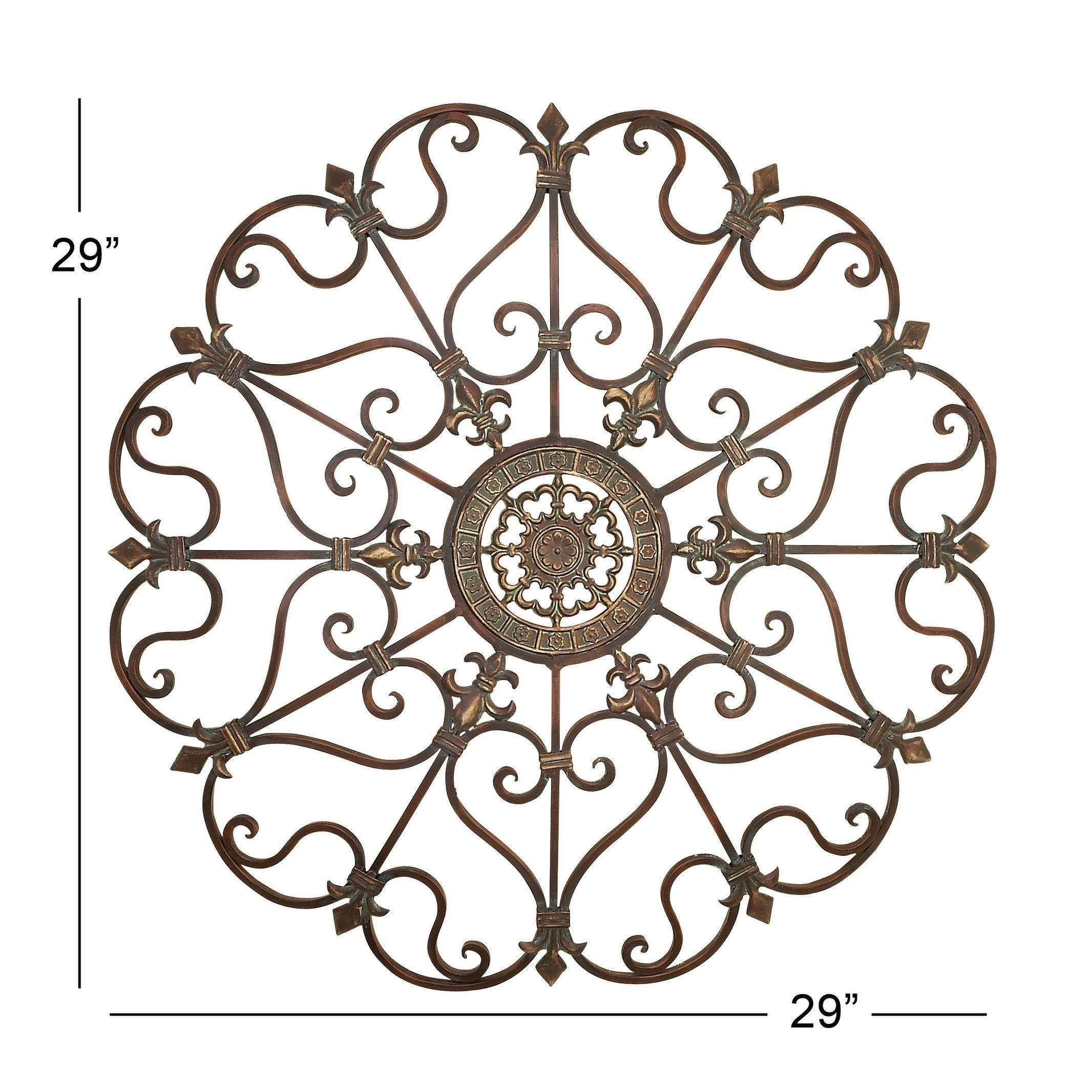 Traditional 29 Inch Ornate Metal Wall Decorstudio 350 Intended For 2 Piece Metal Wall Decor Sets By Fleur De Lis Living (View 20 of 30)