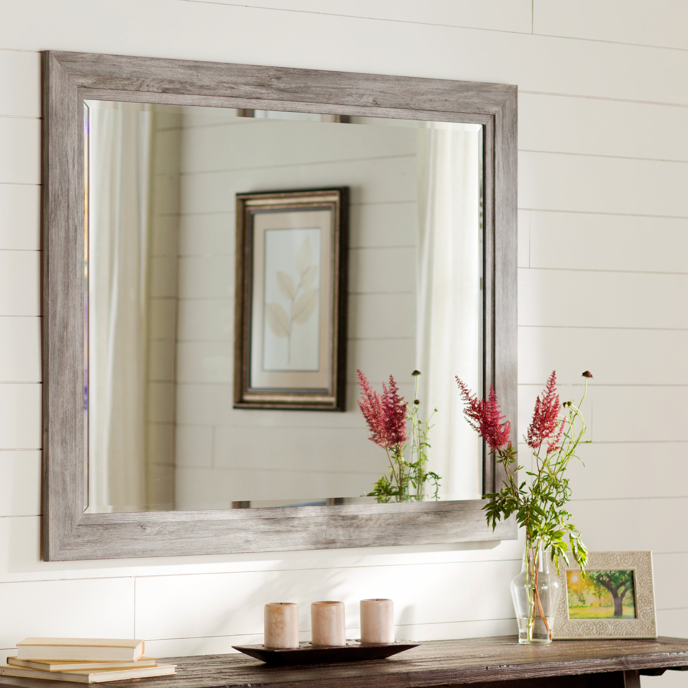Traditional Beveled Accent Mirror with Longwood Rustic Beveled Accent Mirrors (Image 23 of 30)