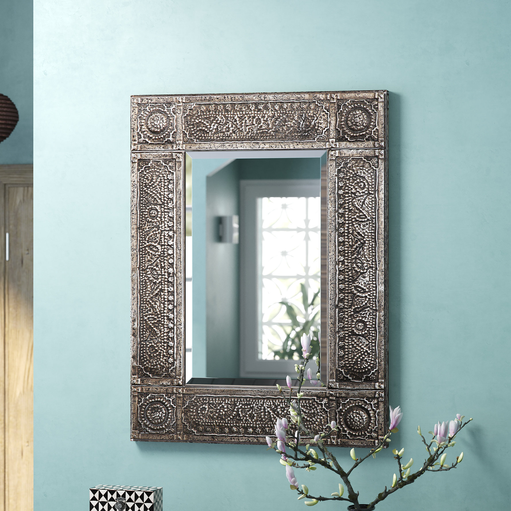 Traditional Beveled Distressed Accent Mirror Regarding Traditional Beveled Accent Mirrors (View 13 of 30)