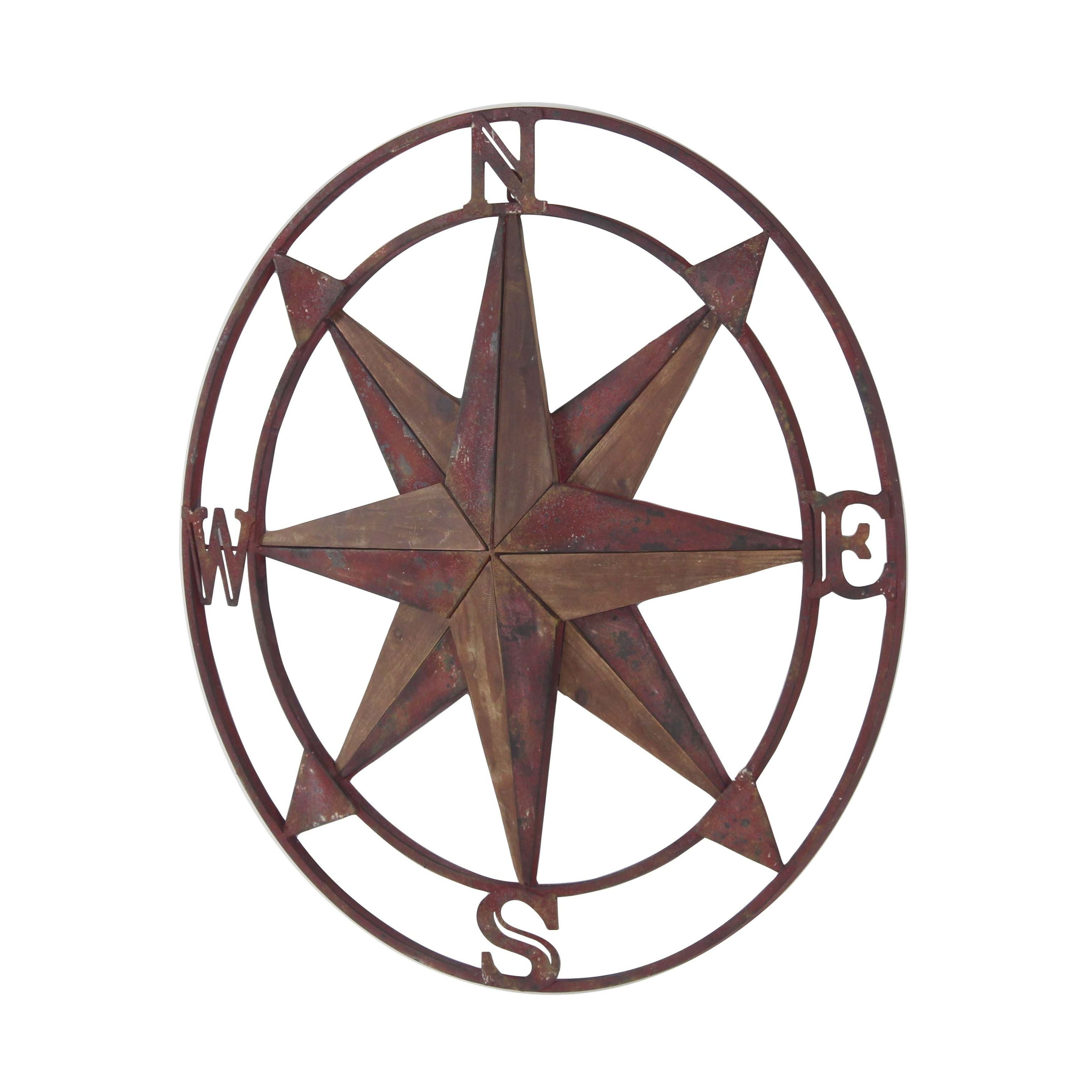 Traditional Iron And Fir Wood Compass Wall Decor With Regard To Round Compass Wall Decor (View 9 of 30)