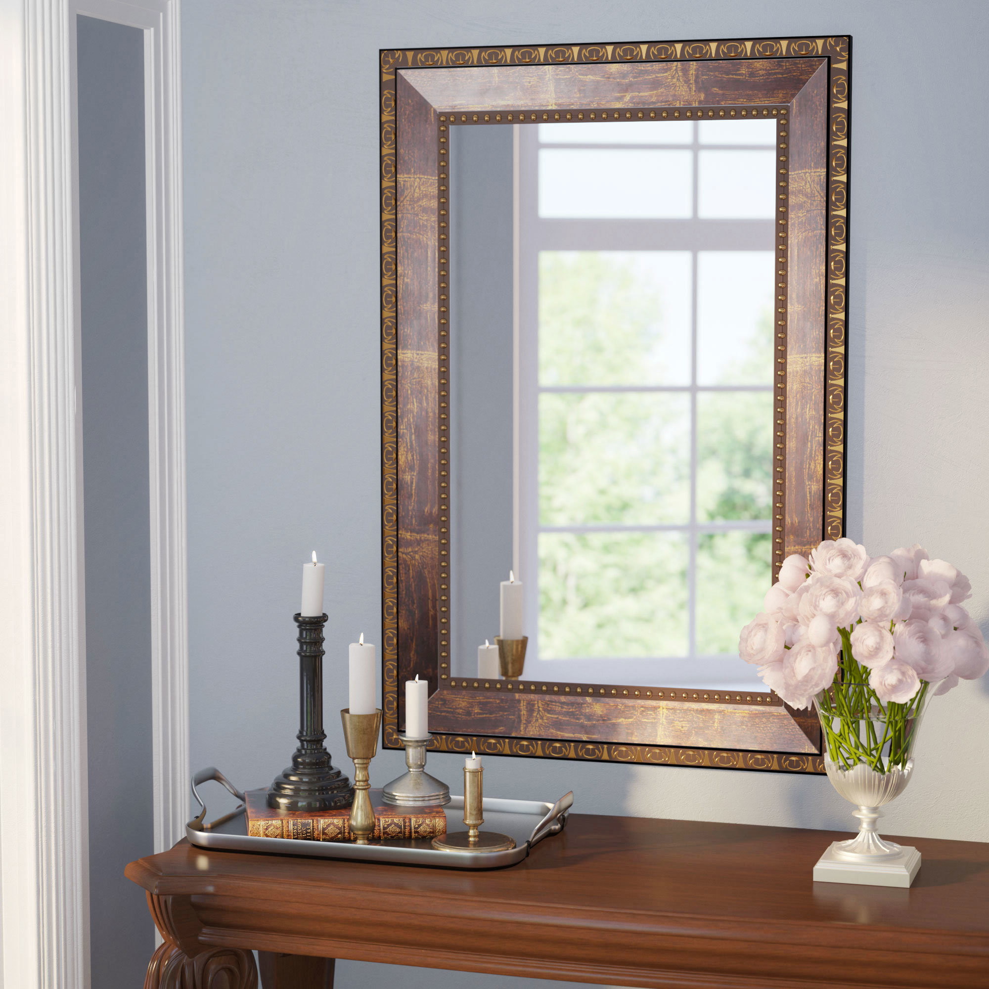 Traditional Square Copper Bronze Accent Mirror With Regard To Traditional Square Glass Wall Mirrors (View 8 of 30)