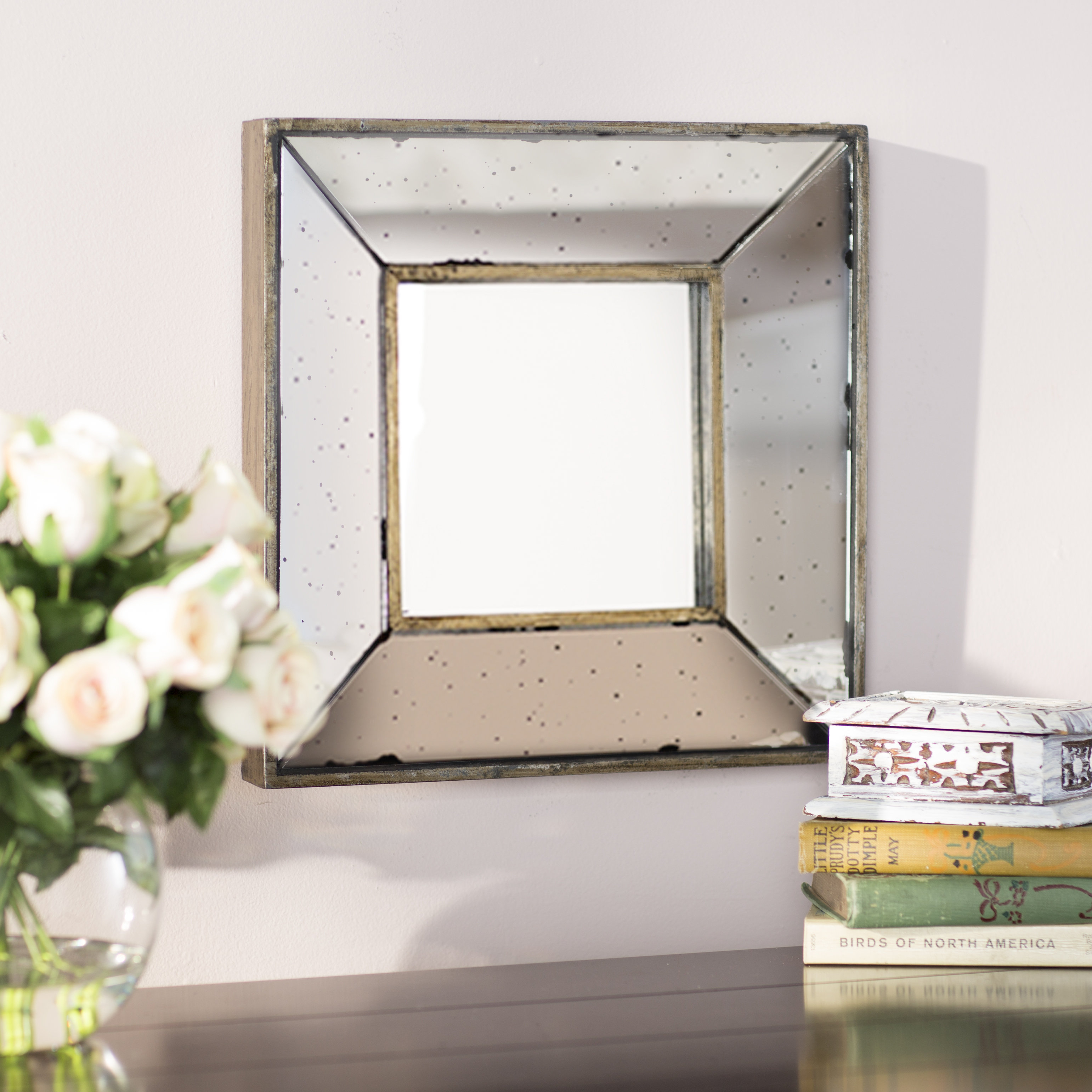 Traditional Square Glass Wall Mirror Throughout Traditional Metal Wall Mirrors (View 13 of 30)