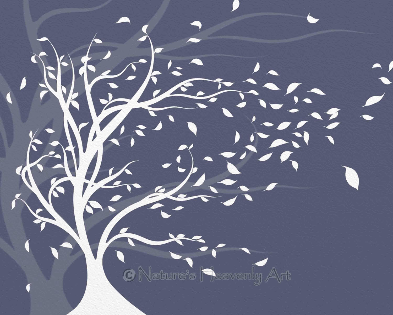 Tree Art Prints | Print, Wind Tree Wall Art, Blowing Leaves Throughout Blowing Leaves Wall Decor (View 12 of 30)