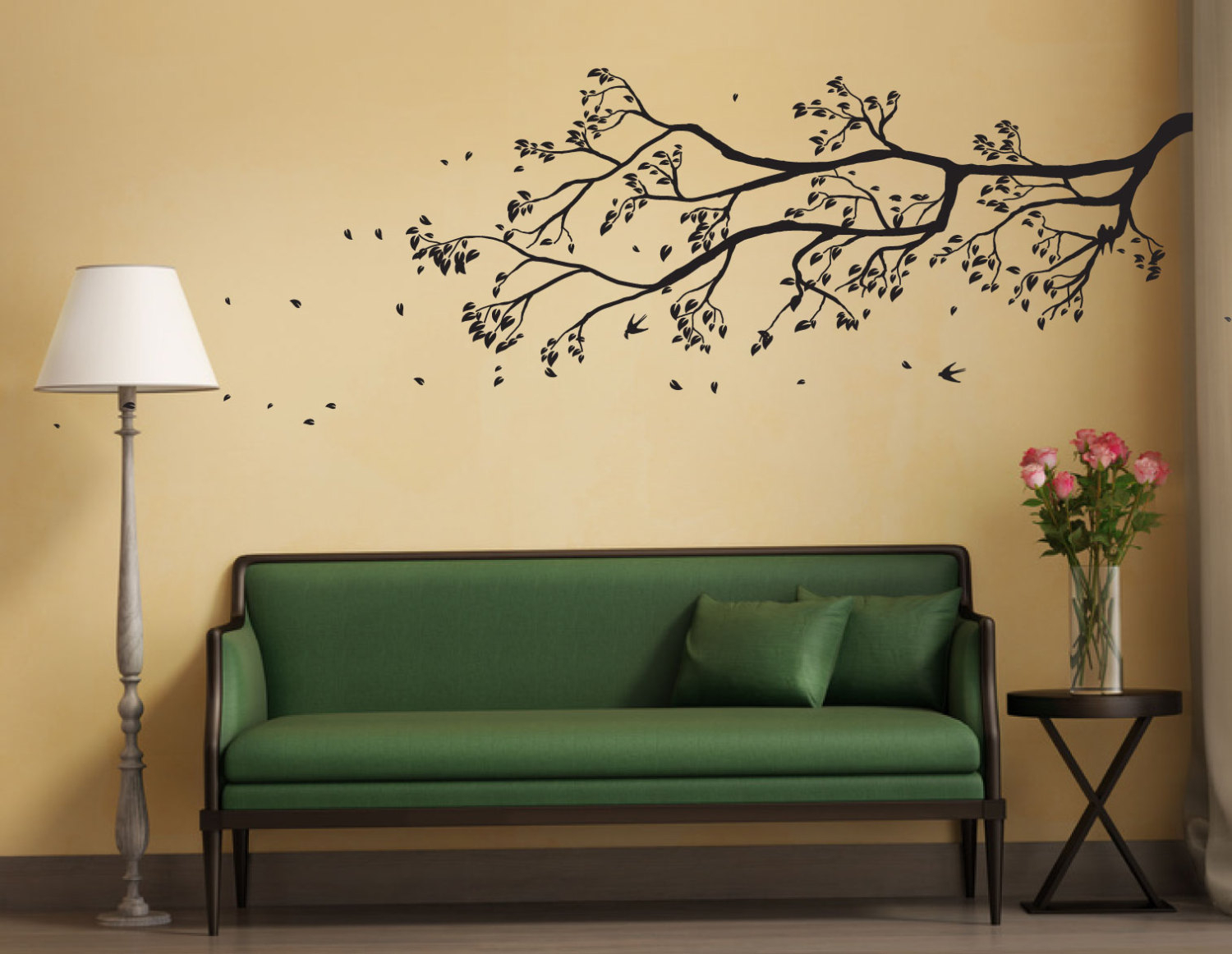 Tree Branch Wall Sticker With Falling Leaves And Birds Perched | Removable  Wall Decal Home Decor Wall Art Decal inside Flowing Leaves Wall Decor (Image 29 of 30)