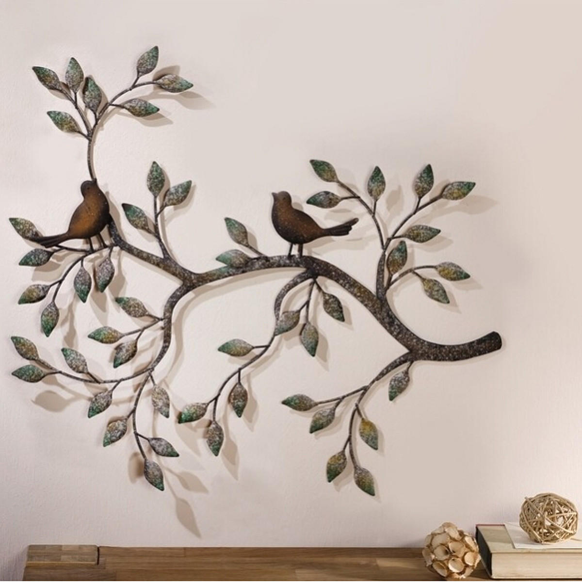 Tree Of Life Leaves Bird Wall Hanging Ornament Metal Wall Art Sculpture  Home Room Decorations inside Leaves Metal Sculpture Wall Decor (Image 29 of 30)