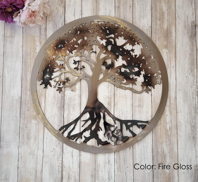 Tree Of Life, Metal Tree Wall Art, Outdoor Metal Art, Family Tree, Tree Art, Front Door Wreath, Family Sign, Metal Tree Of Life Wall Art Pertaining To Tree Of Life Wall Decor (View 8 of 30)