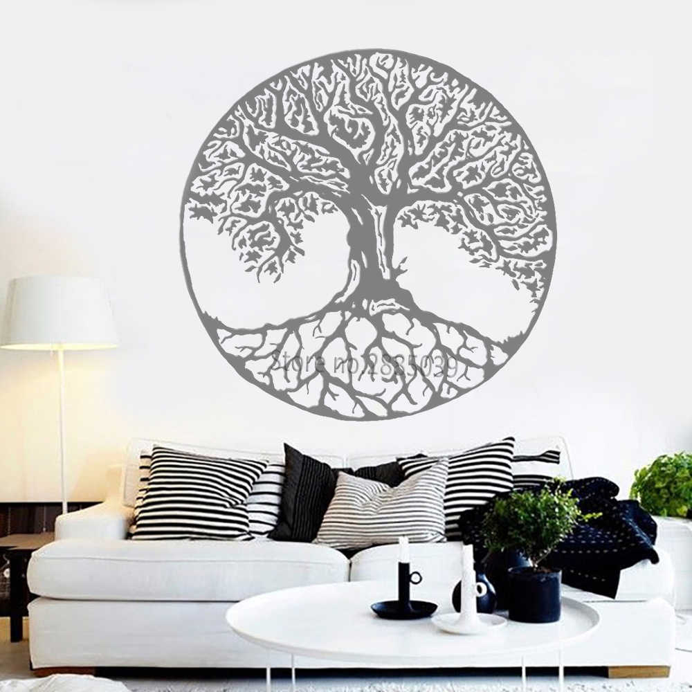 Tree Of Life Wall Decals Vinyl Large Tree Wall Stickers Trees Wall Decor Kabbalah Symbol Art Murals Wallpapers Yoga Room Lc998 Intended For Tree Of Life Wall Decor (View 11 of 30)