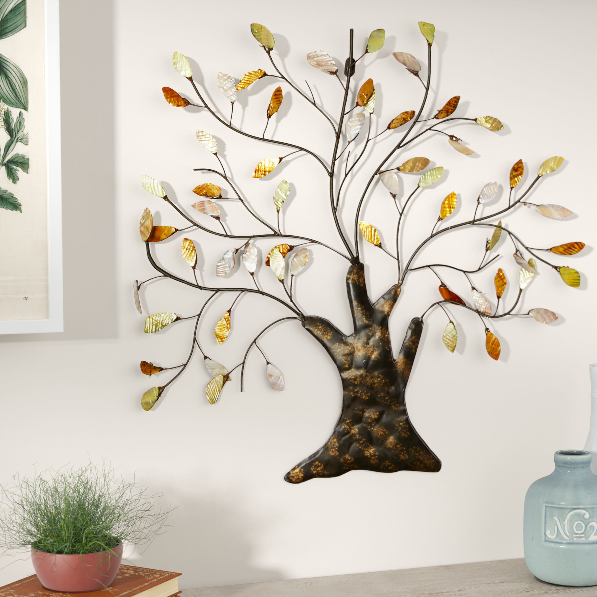 Tree Shell Leaves Sculpture Wall Décor With Tree Shell Leaves Sculpture Wall Decor (View 2 of 30)