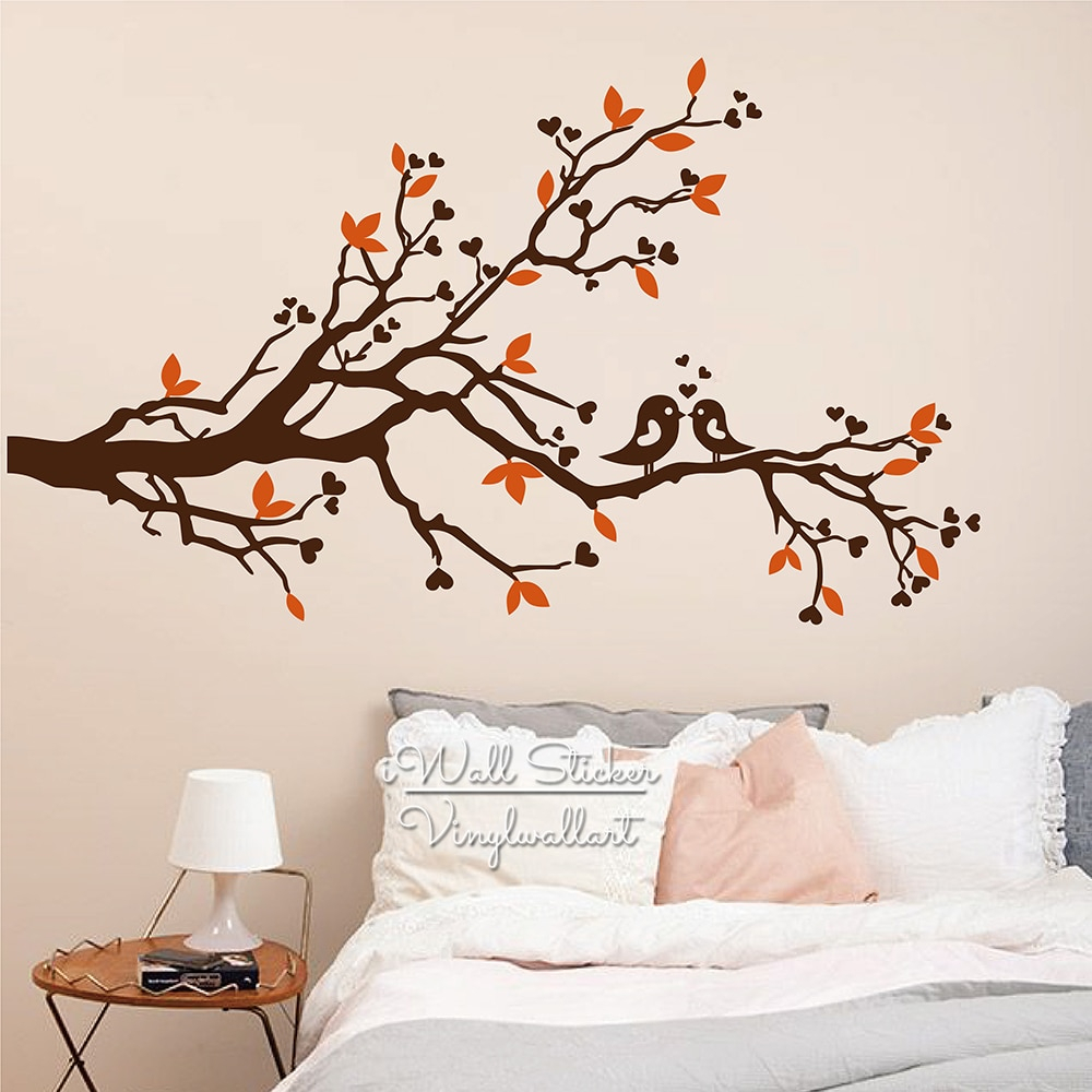 Tree Wall Sticker Baby Nursery Tree Birds Wall Decal Diy With Regard To Birds On A Branch Wall Decor (View 16 of 30)