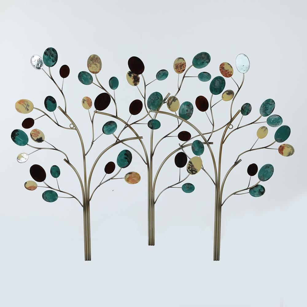 Trees Metal Work, Multi Colored In 2019 | Products | Metal With Windswept Tree Wall Decor By World Menagerie (View 10 of 30)