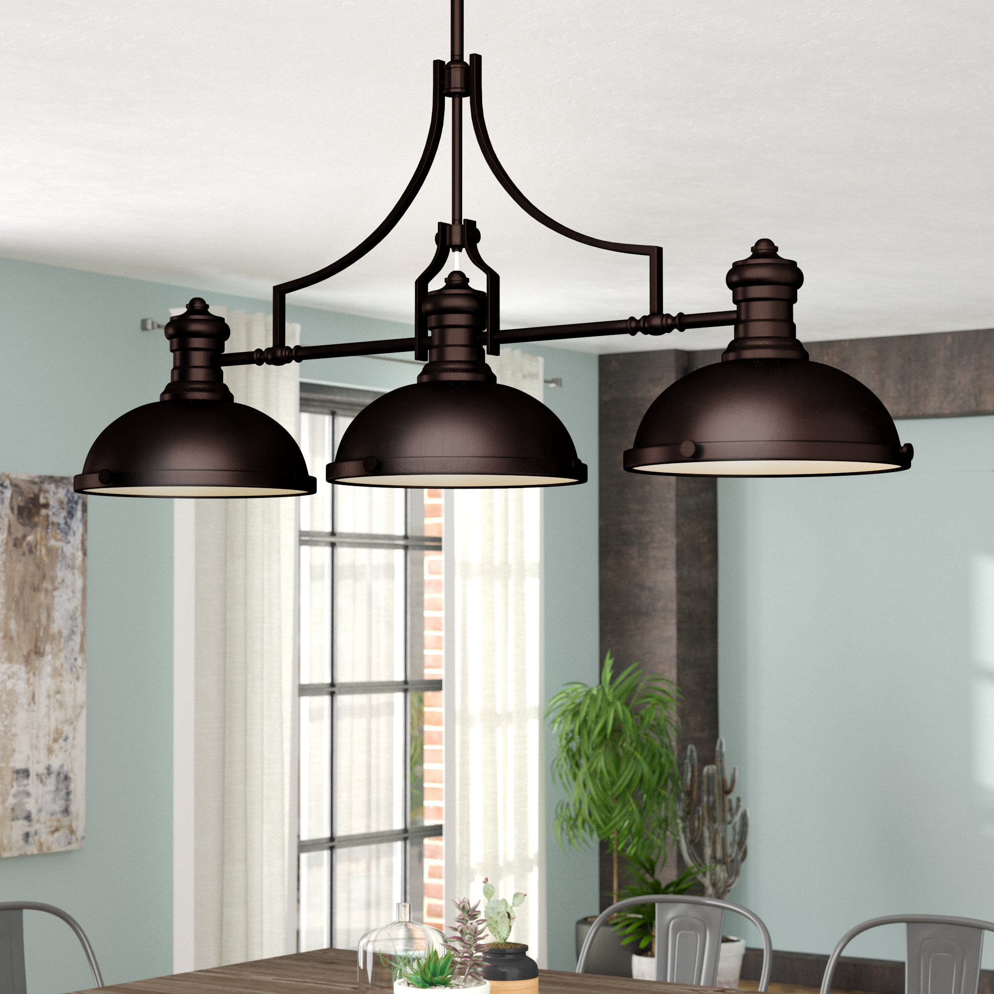 Trent Austin Design Fredela 3 Light Kitchen Island Pendant For Ariel 3 Light Kitchen Island Dome Pendants (Image 30 of 30)