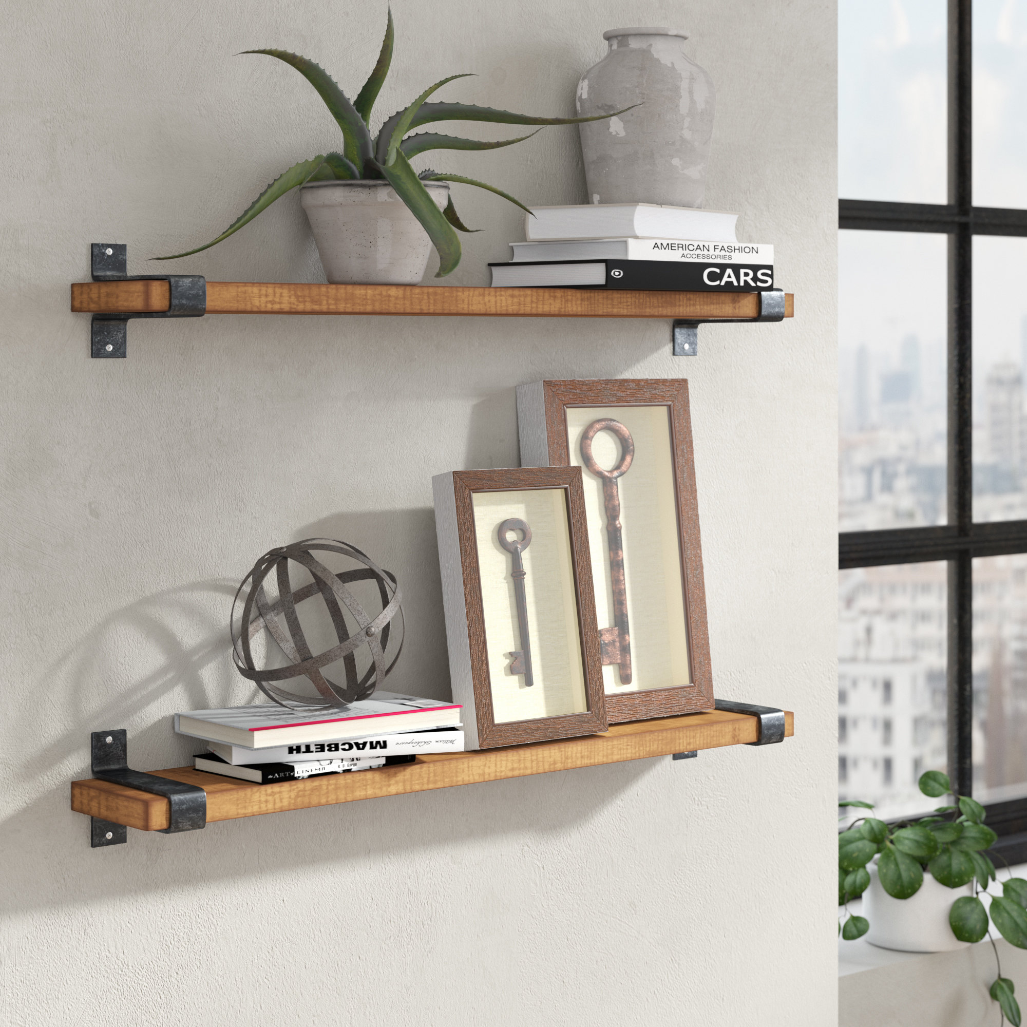 Treyvon Industrial Grace Wall Shelf for Farm Metal Wall Rack and 3 Tin Pot With Hanger Wall Decor (Image 22 of 30)