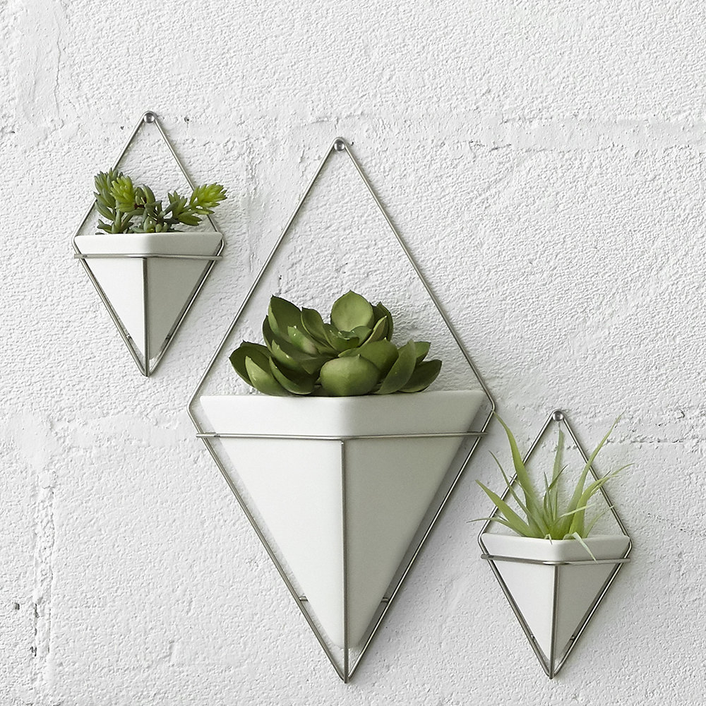 Trigg Wall Planter - White/nickel with 2 Piece Trigg Wall Decor Sets (Set Of 2) (Image 18 of 30)