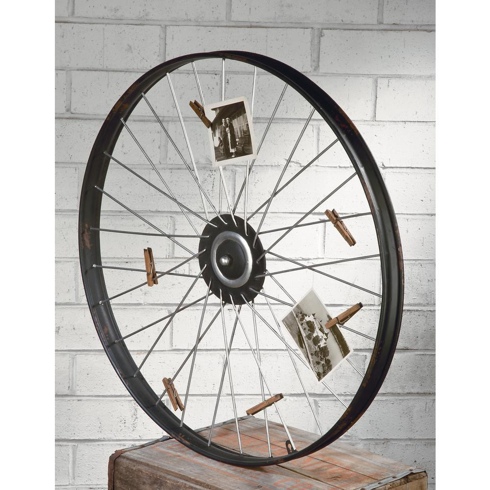 Tripar International Metal Wheel Wall Decor With Clips For with regard to Millanocket Metal Wheel Photo Holder Wall Decor (Image 28 of 30)