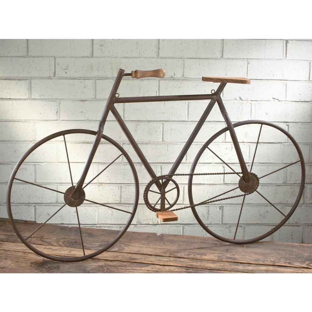 Tripar International Metal With Wood Brown Finish Bicycle Intended For Bike Wall Decor (View 14 of 30)