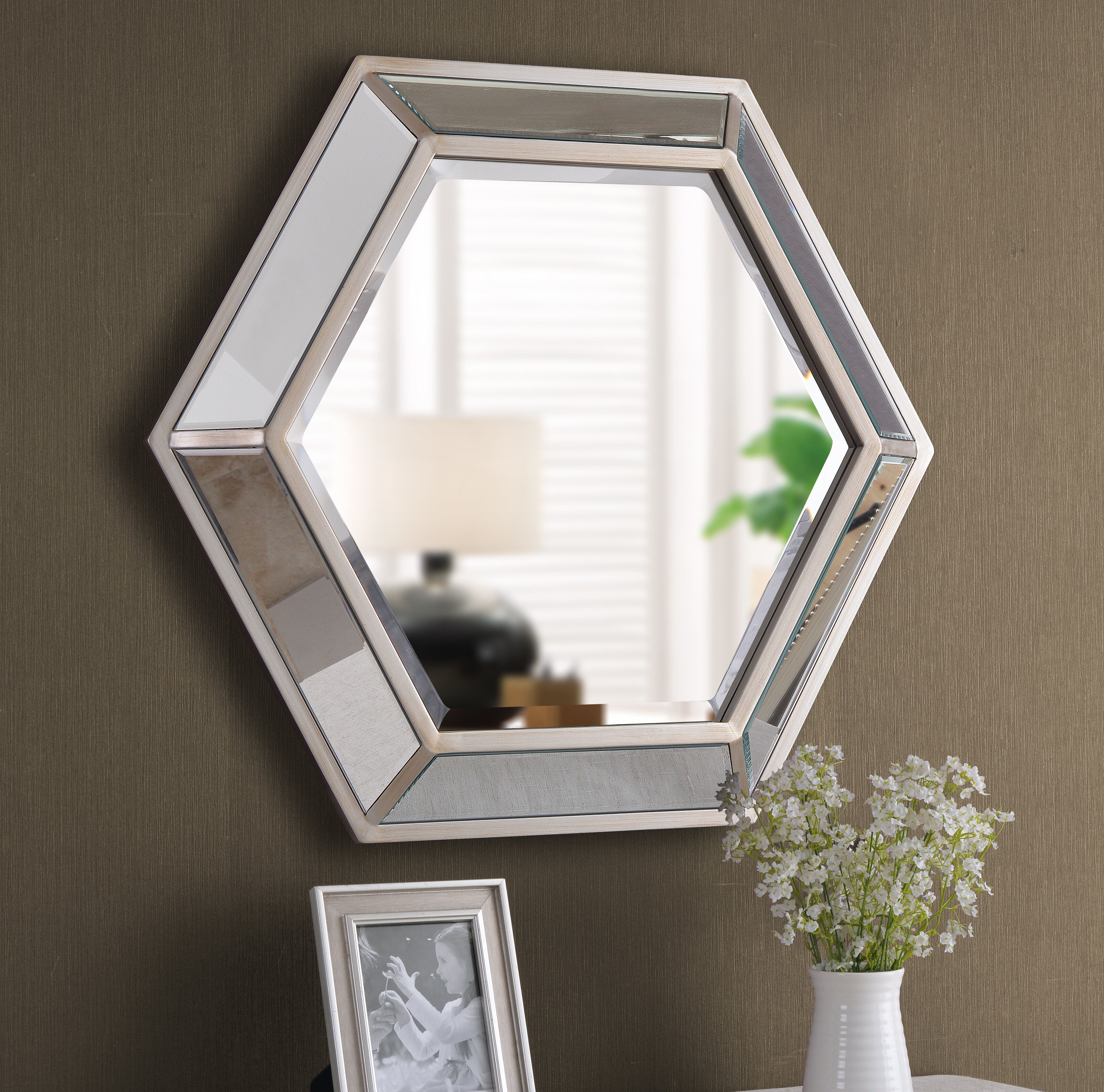 Tulare Hexagonal D Ring Wall Mounted Beveled Accent Mirror Intended For Trigg Accent Mirrors (View 18 of 30)