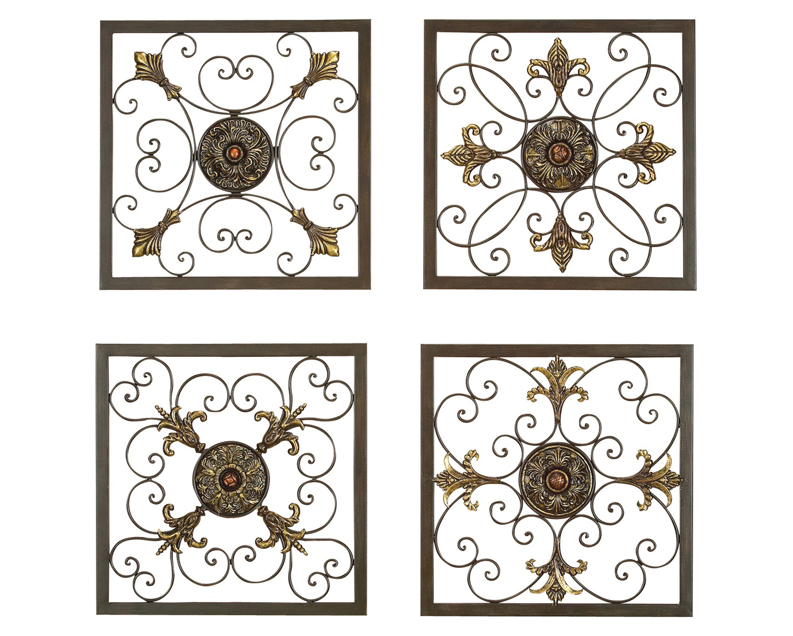 Tuscan Grilles Metal Wall Panels Set Art As Decor Decoration in Ornate Scroll Wall Decor (Image 26 of 30)