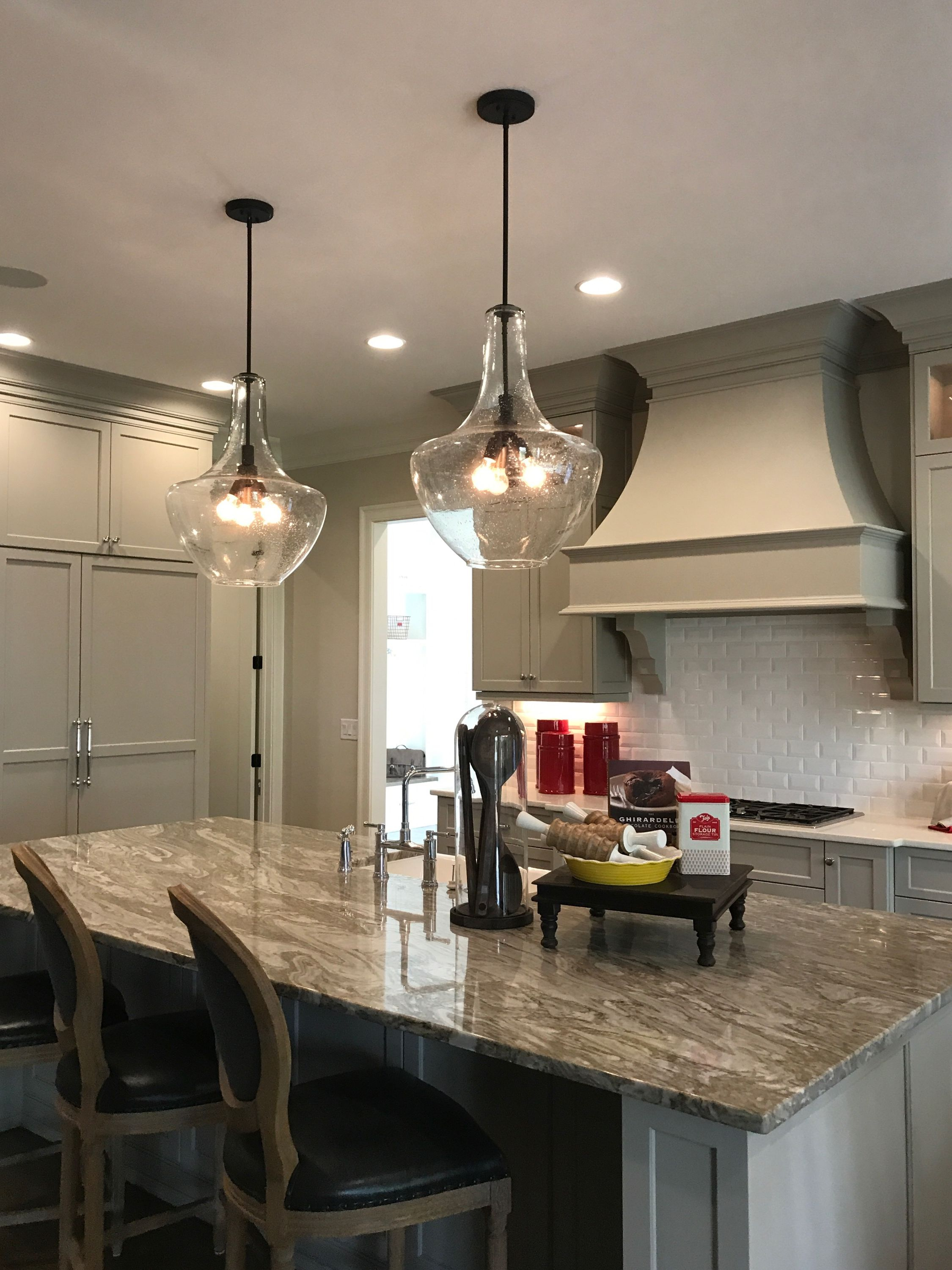 Two Large Kichler Everly Pendants Above Kitchen Island with Martinique 3-Light Kitchen Island Dome Pendants (Image 30 of 30)