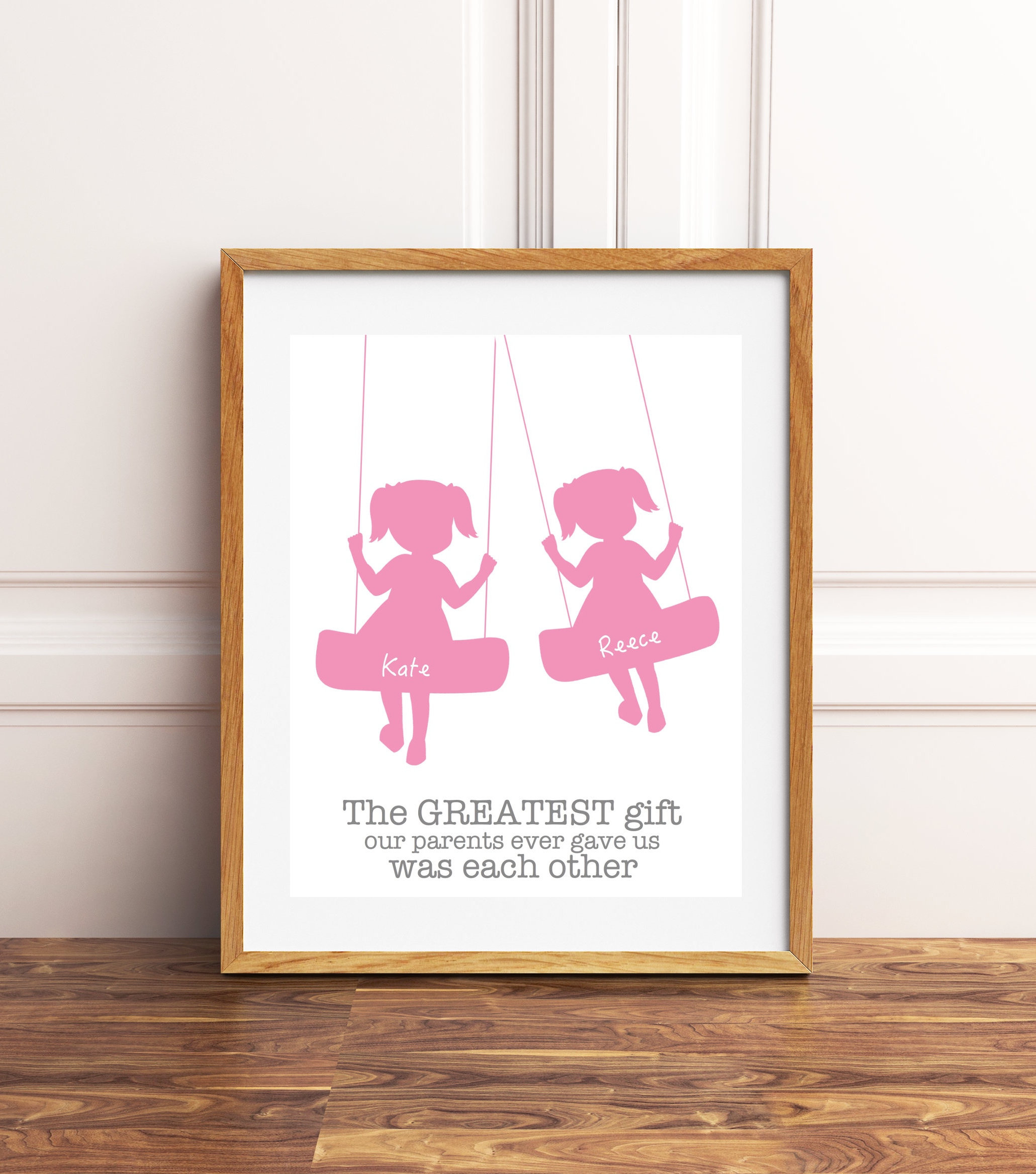 Two Sisters Wall Art, Twin Girls, Twins Wall Art, Kids On Swing, New Mom Gift, Twins Gift Personalized Kids Art, The Greatest Gift In Rhys Turtle Decor Wall Decor (View 24 of 30)