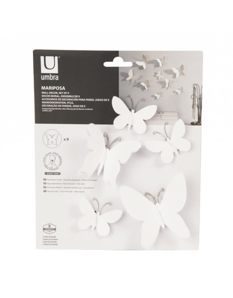 Umbra Wall Deco - Mariposa (White) regarding Mariposa 9 Piece Wall Decor (Image 27 of 30)