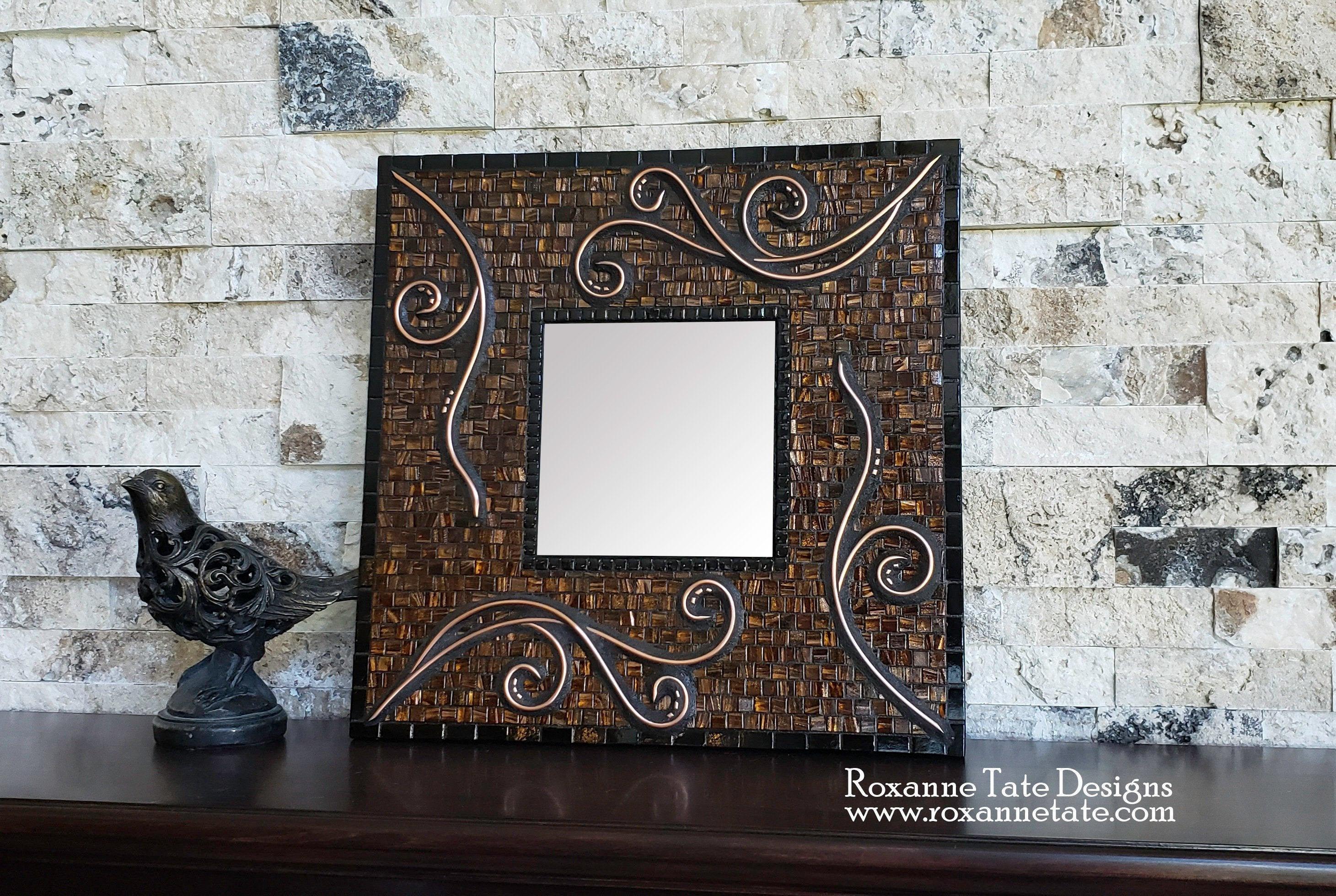 Unique Mosaic Mirror, Accent Mirror, Wall Mirror, Small Mosaic Mirror,  Mirror Wall Decor, Bathroom Decor, Powder Bath Decor, Copper, Mosaic for Rena Accent Mirrors (Image 28 of 30)