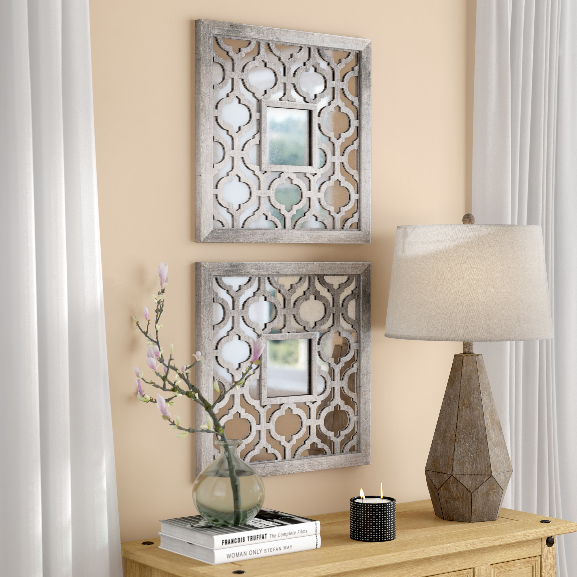 Uptal Square Silver Leaf Accent Mirror regarding Silver Frame Accent Mirrors (Image 30 of 30)