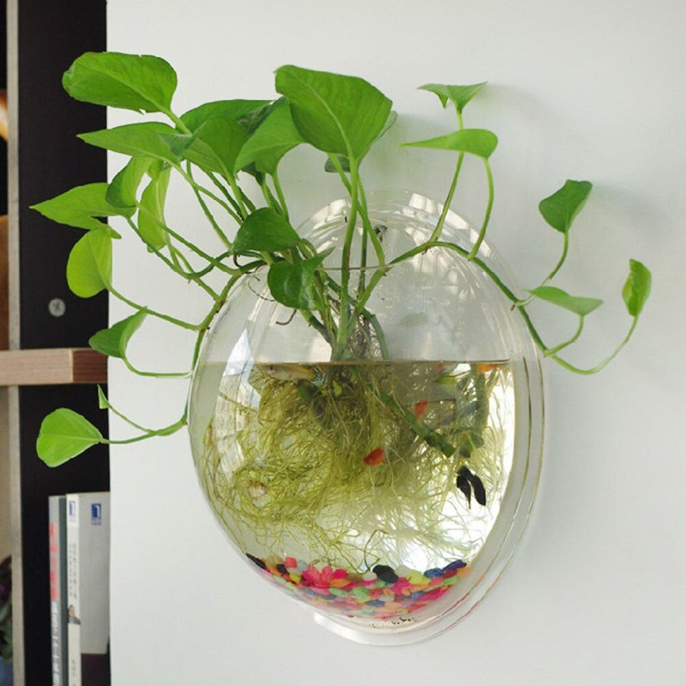 Us $1.77 19% Off|2017 New Home Decor Wall Vase Ball Shape Flower Pot Glass  Wall Hanging Vase Water Planter Vase Goldfish Bowl Wall Decorations-In in Vase And Bowl Wall Decor (Image 26 of 30)
