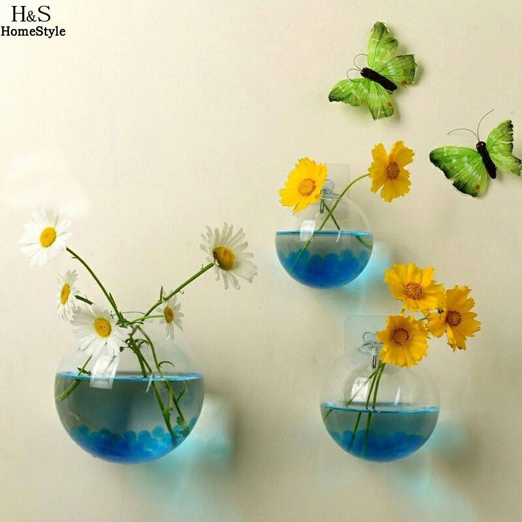 Us $1.8 5% Off|Glass Aquarium Hydroponic Fish Wall Hanging Bowl Transparent  Fashion 1 Flower Terrarium X Casual Tank Decor Fish Vase Plant-In Vases in Vase And Bowl Wall Decor (Image 27 of 30)