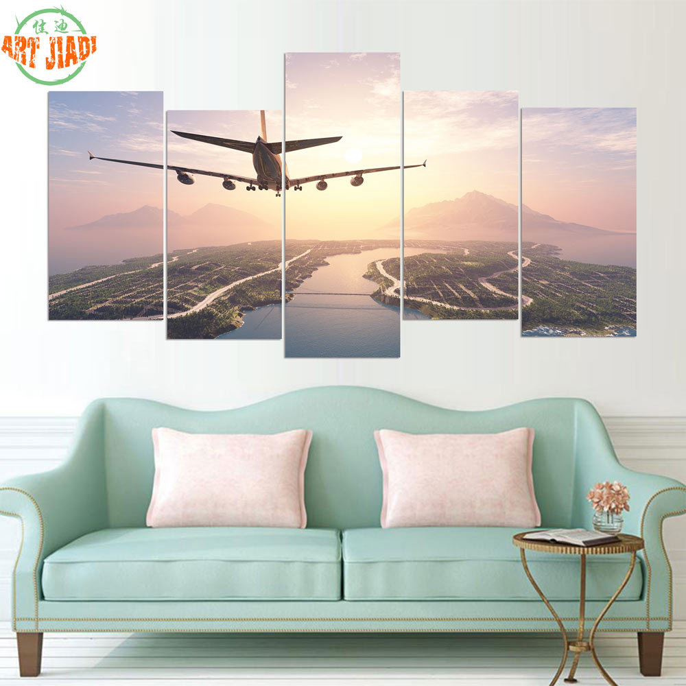 Us $12.88 |New 5 Pieces/sets Canvas Art Hd Airplane Landing On Island  Canvas Paintings Decorations For Home Wall Art Prints Canvas a650-In  Painting & within Landing Art Wall Decor (Image 22 of 30)