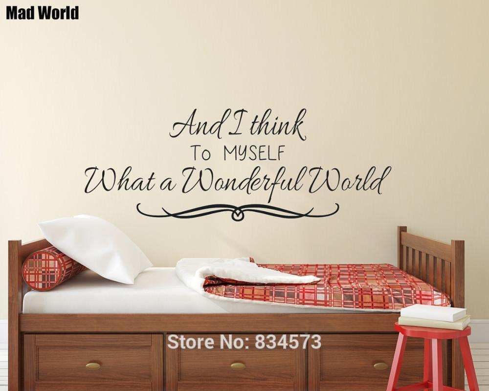 Us $14.2 |And I Think To Myself What A Wonderful World Wall Art Sticker  Wall Decals Home Diy Decoration Removable Room Decor Wall Stickers-In Wall for Wonderful World Wall Decor (Image 16 of 30)