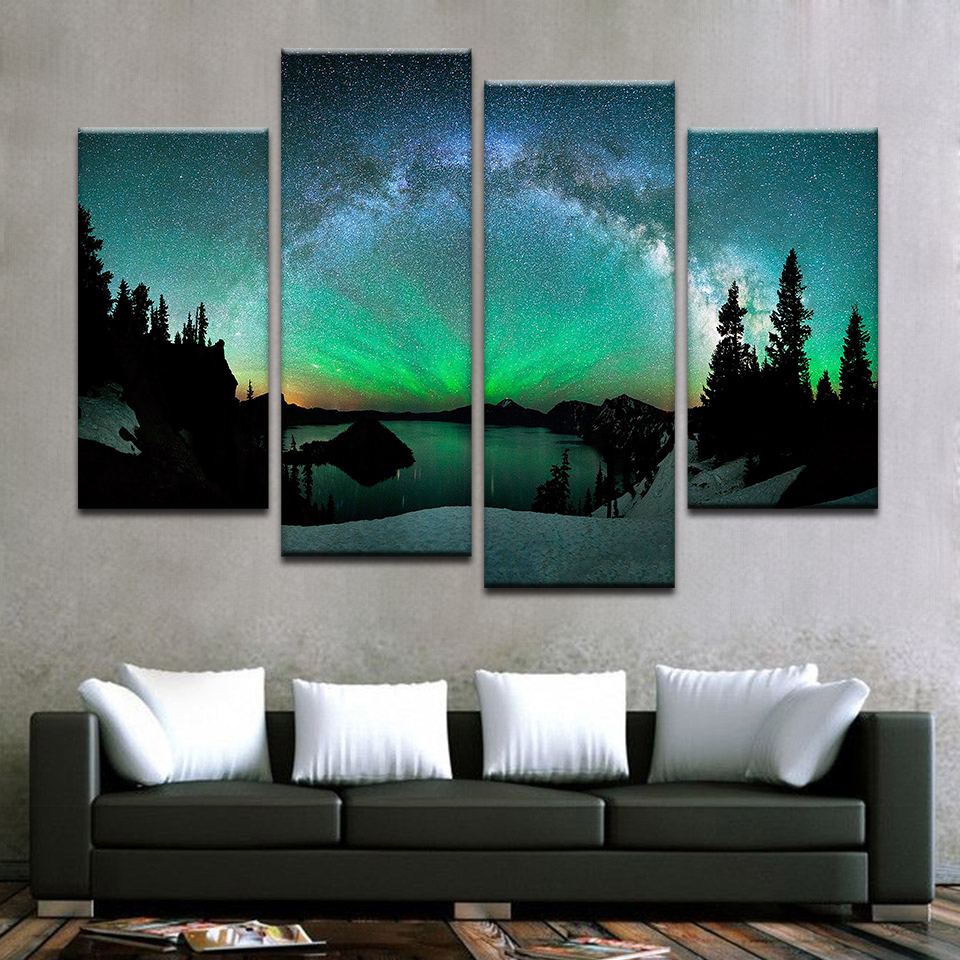 Us $5.5 |Living Room Modern Hd Printed Wall Art Pictures Painting Aurora  Borealis Nature Landscape Home Frame Poster Decoration-In Painting & for Aurora Sun Wall Decor (Image 27 of 30)