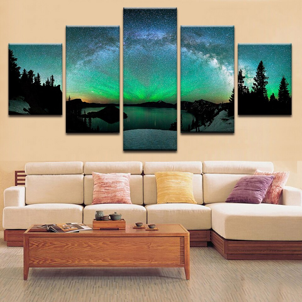 Us $5.5 |Living Room Modern Hd Printed Wall Art Pictures Painting Aurora  Borealis Nature Landscape Home Frame Poster Decoration-In Painting & with regard to Aurora Sun Wall Decor (Image 28 of 30)