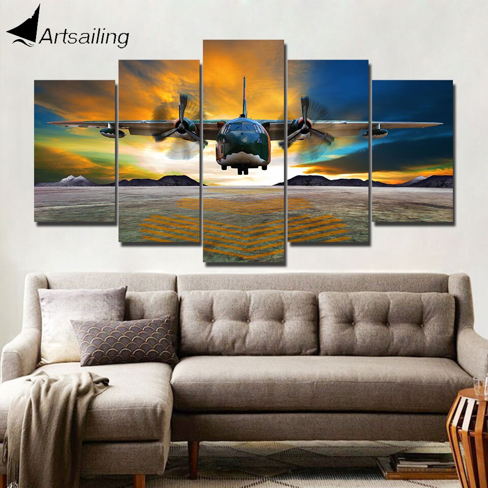 Us $5.59 44% Off|Artsailing Hd Print 5 Piece Canvas Art Aircraft Landing  Home Decoration Accessories Modern Wall Art Canvas Framed Cu 1446B-In regarding Landing Art Wall Decor (Image 23 of 30)