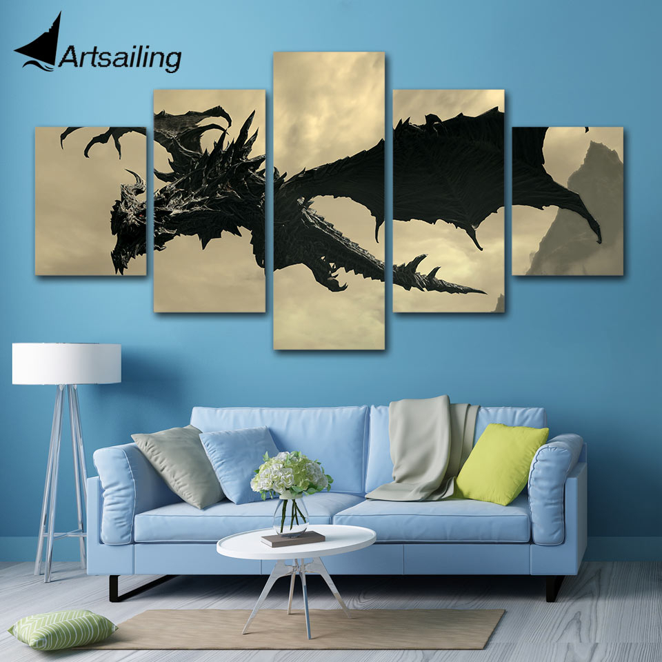 Us $5.99 40% Off|Modern 5 Panel The Elder Scrolls V Skyrim Painting Canvas  Wall Art Picture For Living Room Print Painting Canvas Art Artwork-In with Scroll Panel Wall Decor (Image 28 of 30)