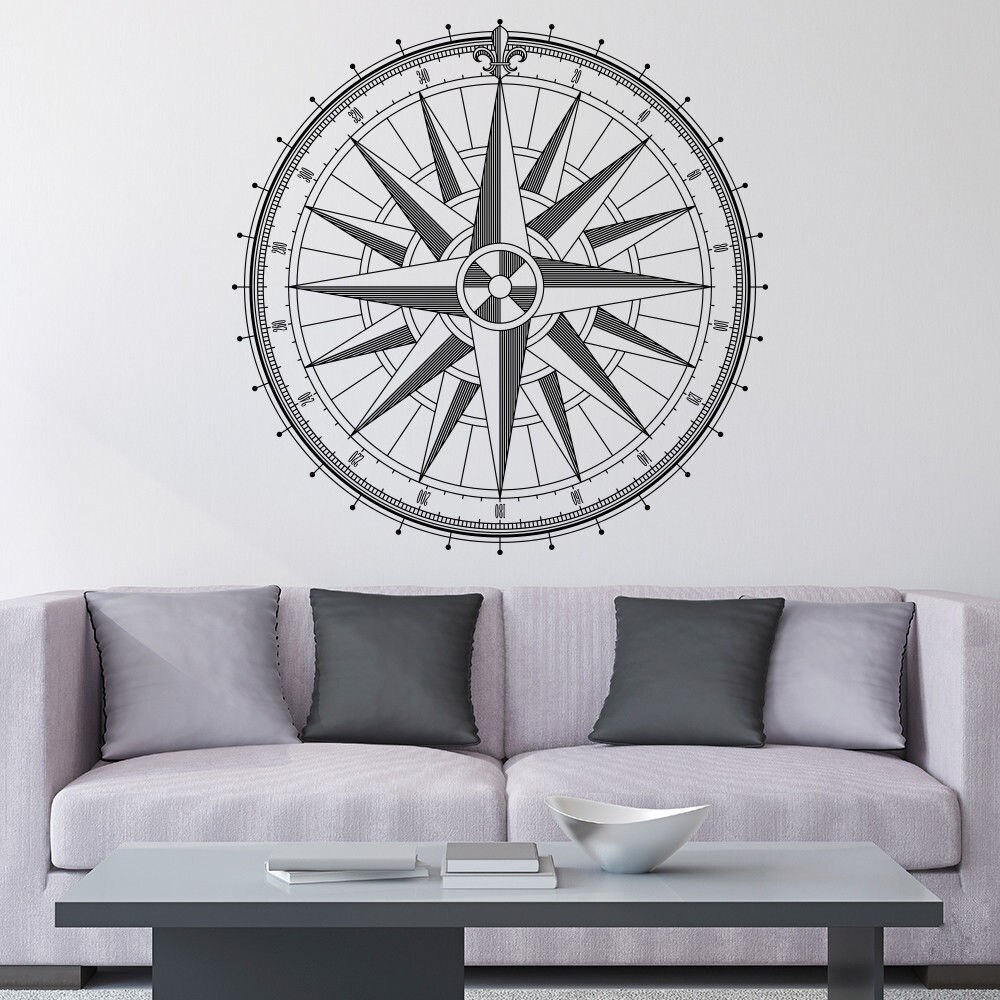 Us $6.43 25% Off|Round Compass Rose Wall Decal Home Wall Or Ceiling Vinyl  Sticker Family Room Decor Compass Direction Removable Wallpaper Ay1130-In regarding Round Compass Wall Decor (Image 29 of 30)