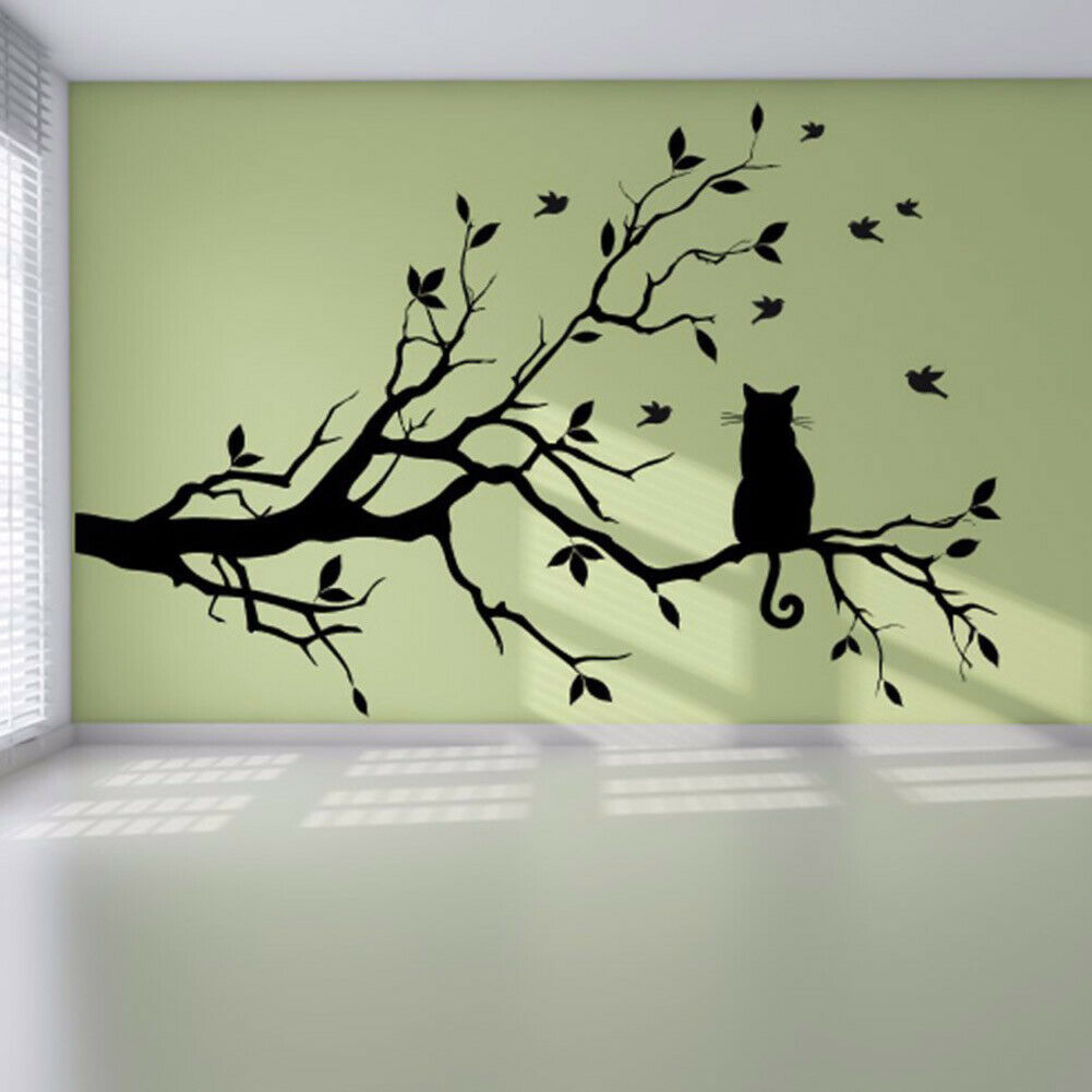 Us Cat On A Tree Branch & Birds Wall Art Sticker Mural Decal Living Room  Decor intended for Birds on a Wire Wall Decor (Image 27 of 30)