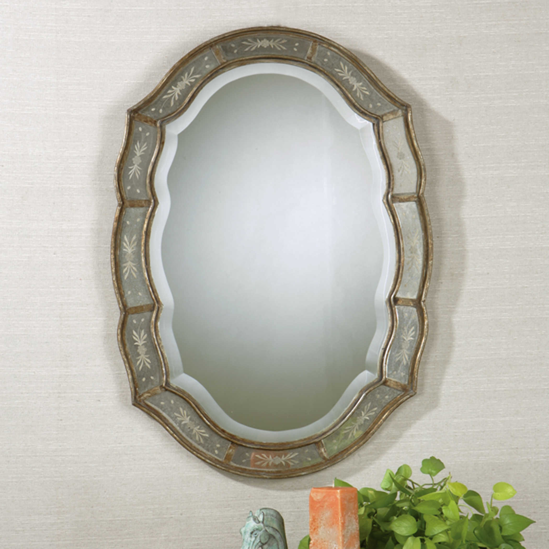 Uttermost Fifi Etched Antique Gold Mirror Regarding Fifi Contemporary Arch Wall Mirrors (View 26 of 30)