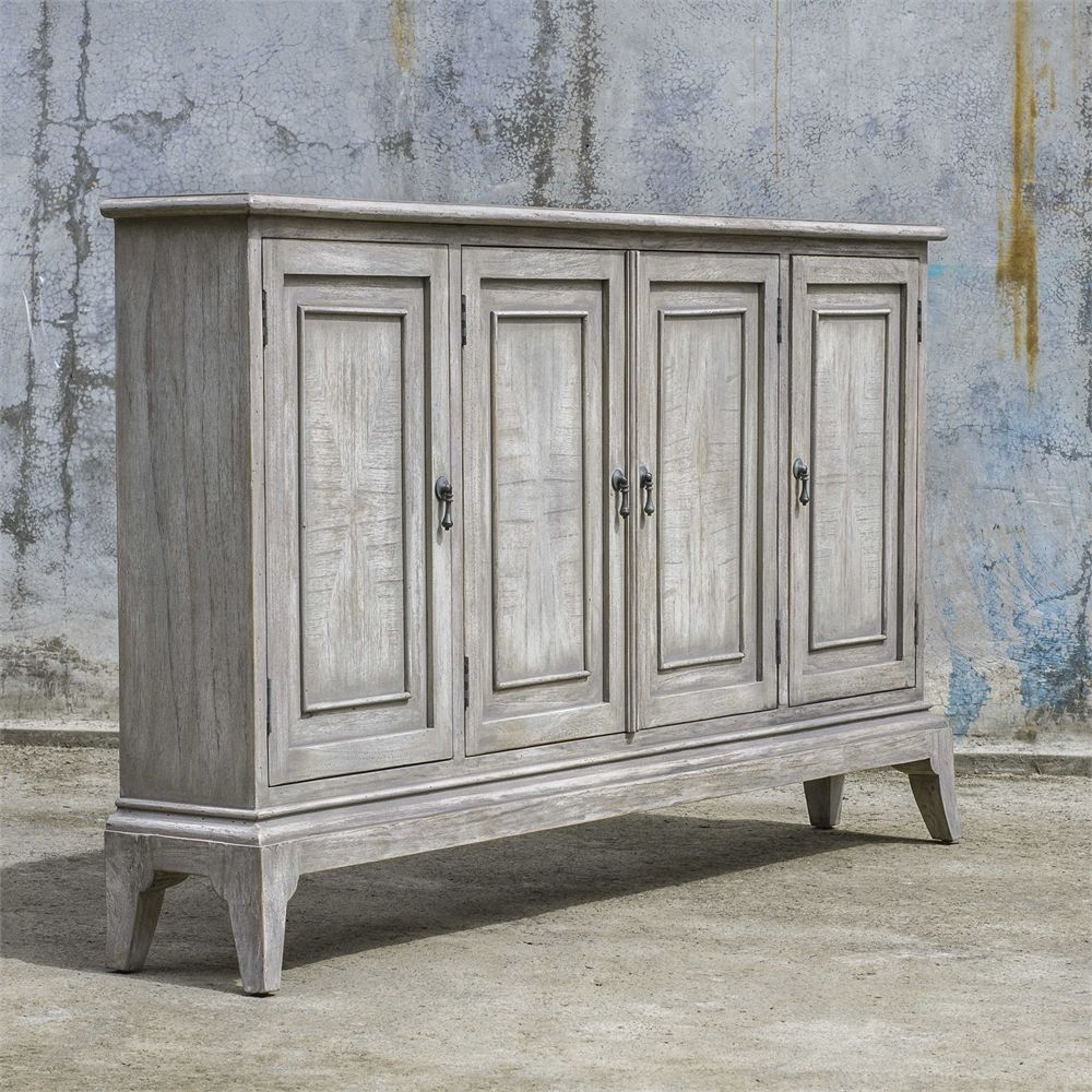 Uttermost - Nyle, 4 Door Cabinet 69X36X9(Depth) - Weathered within Kara 4 Door Accent Cabinets (Image 29 of 30)