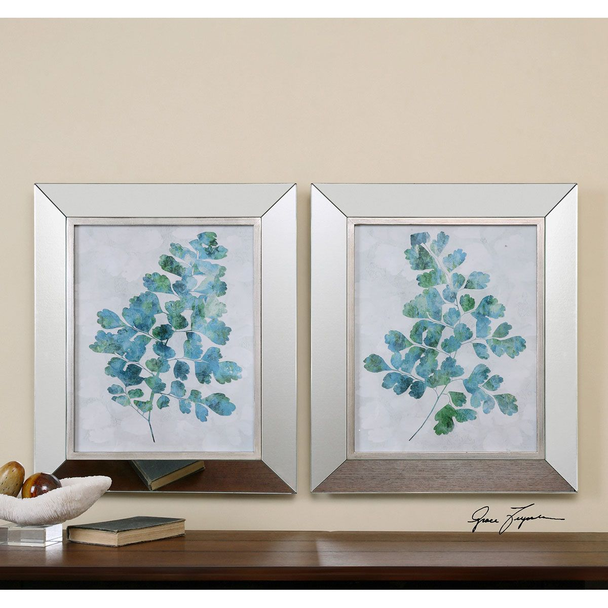 Uttermost Spring Leaves Framed Art Set Of 2 41538 Pertaining To 4 Piece Wall Decor Sets By Charlton Home (View 20 of 30)